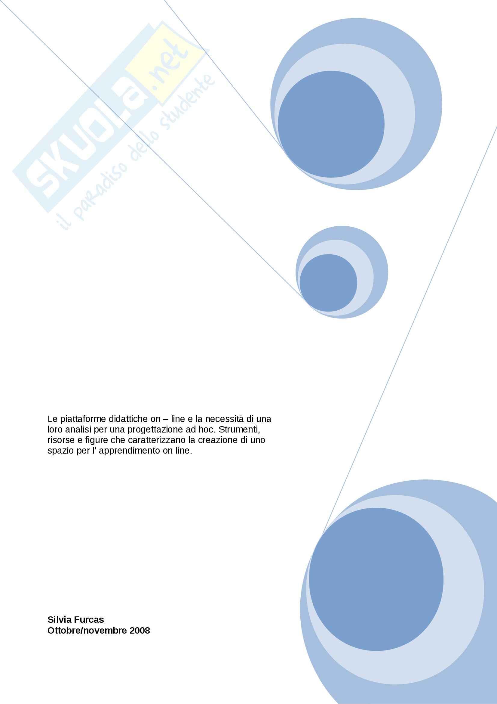 Riassunto esame Tecnologie della formazione, prof. Garavaglia, libro consigliato Ambiente per l'apprendimento in rete, Garavaglia
