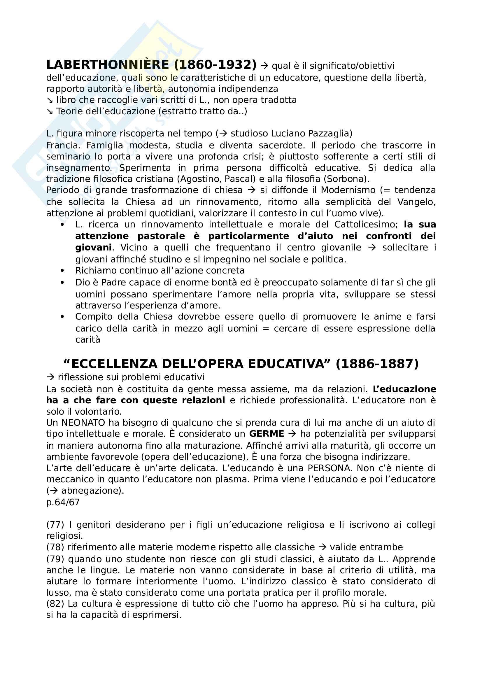 Riassunto esame Storia della pedagogia e dell'educazione, prof Dal Toso, libro consigliato Teoria dell'educazione e altri scritti pedagogici, Pazzaglia, Laberthonnière, La Scuola, Brescia 2014