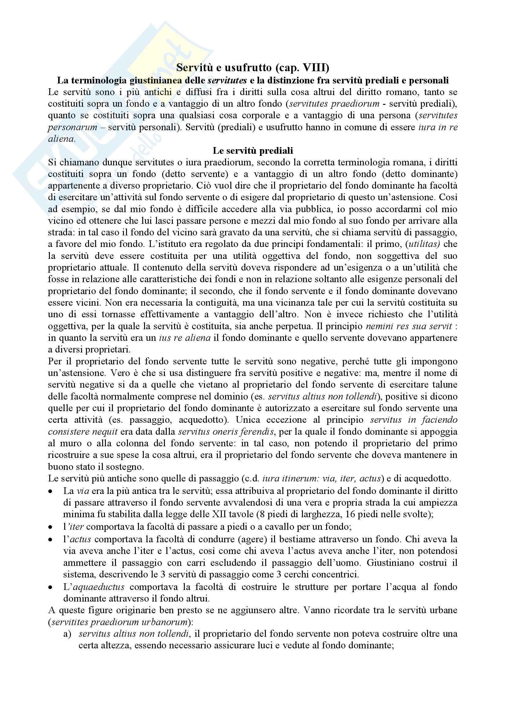 Diritto romano - Servitù e usufrutto