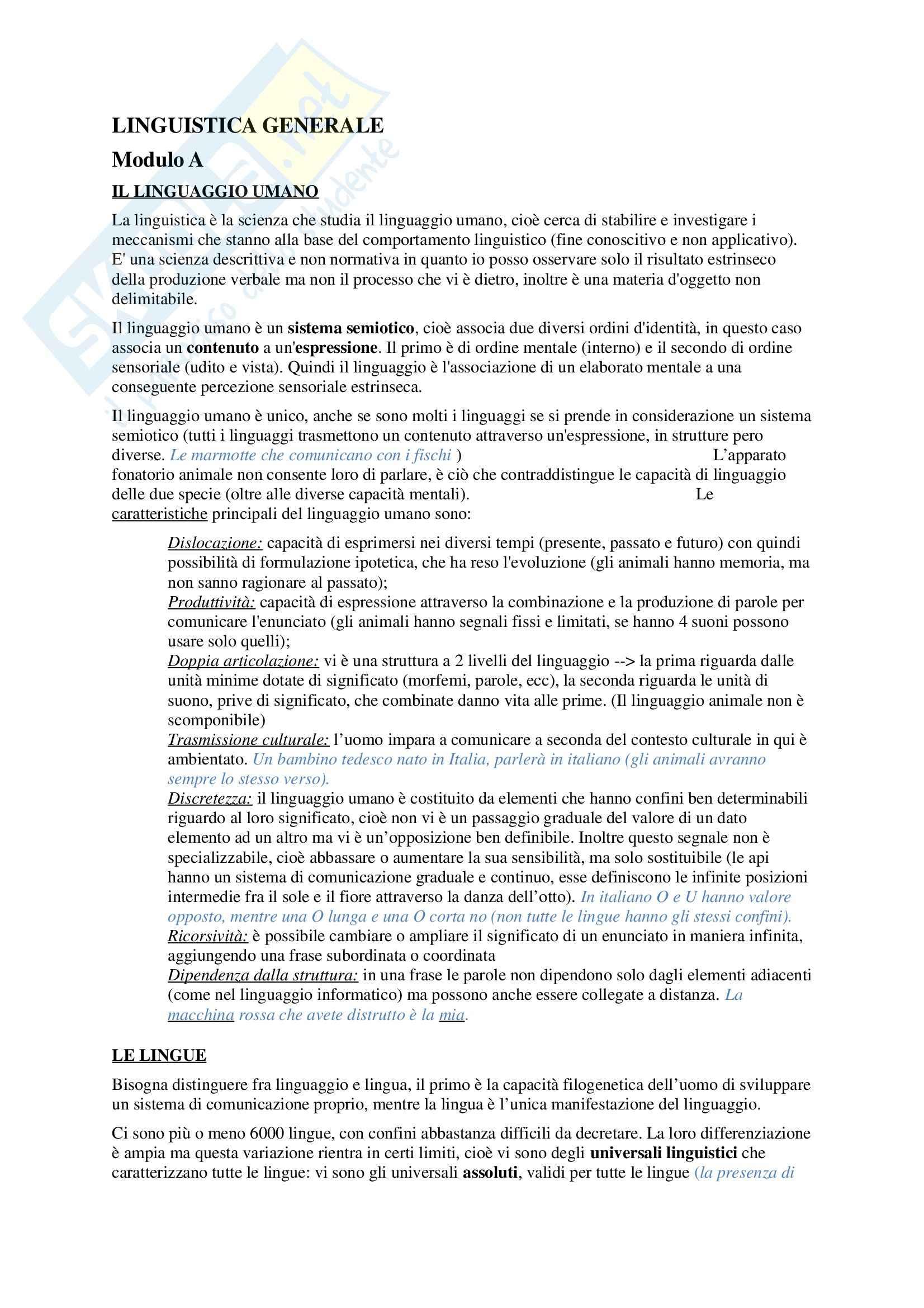 Riassunto esame Linguistica generale, prof. Scala, libro consigliato Linguistica generale Le lingue e il linguaggio Giorgio Graffi e Sergio Scalise