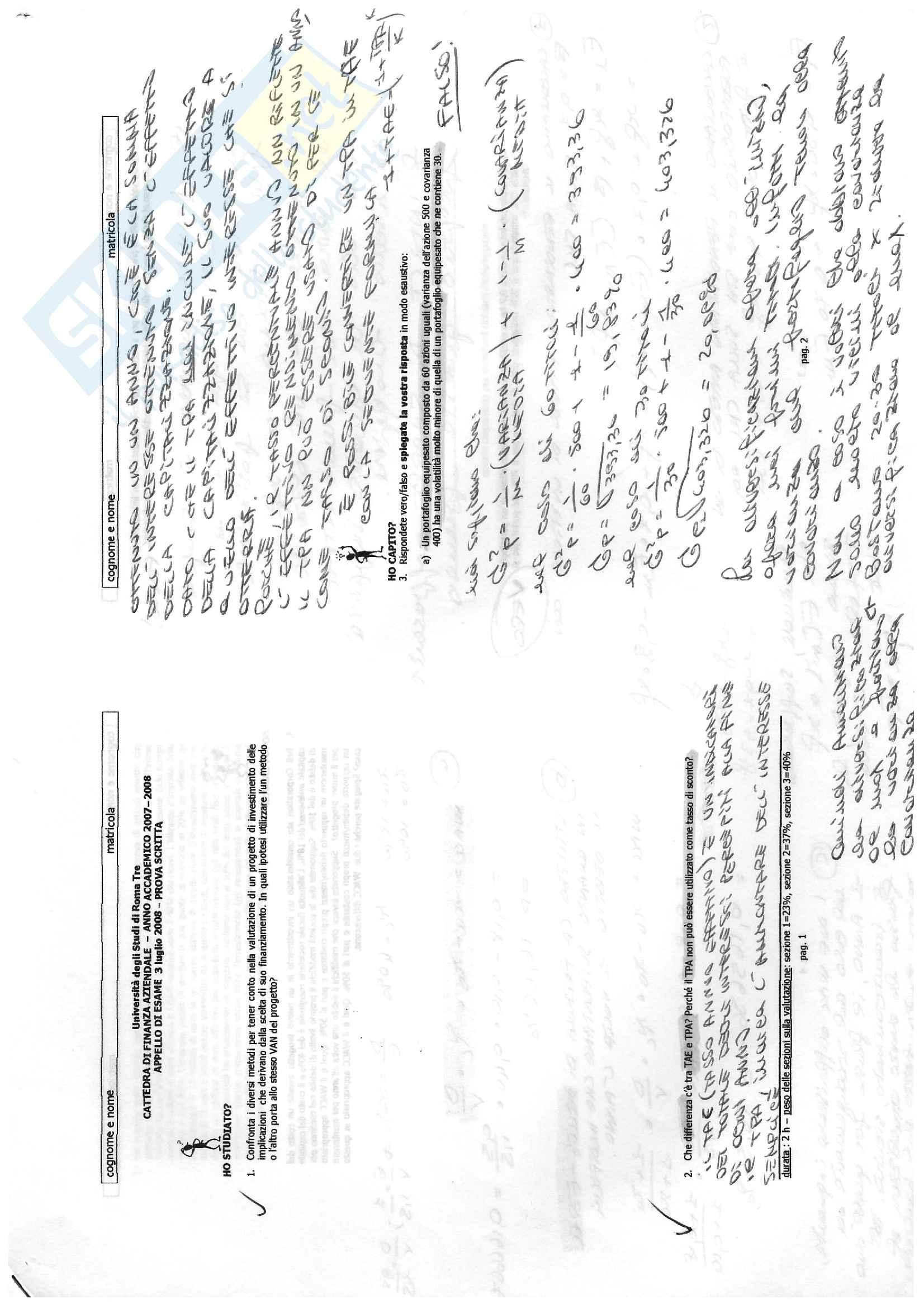 Finanza aziendale - esercizi svolti e soluzioni compito scritto Pag. 16
