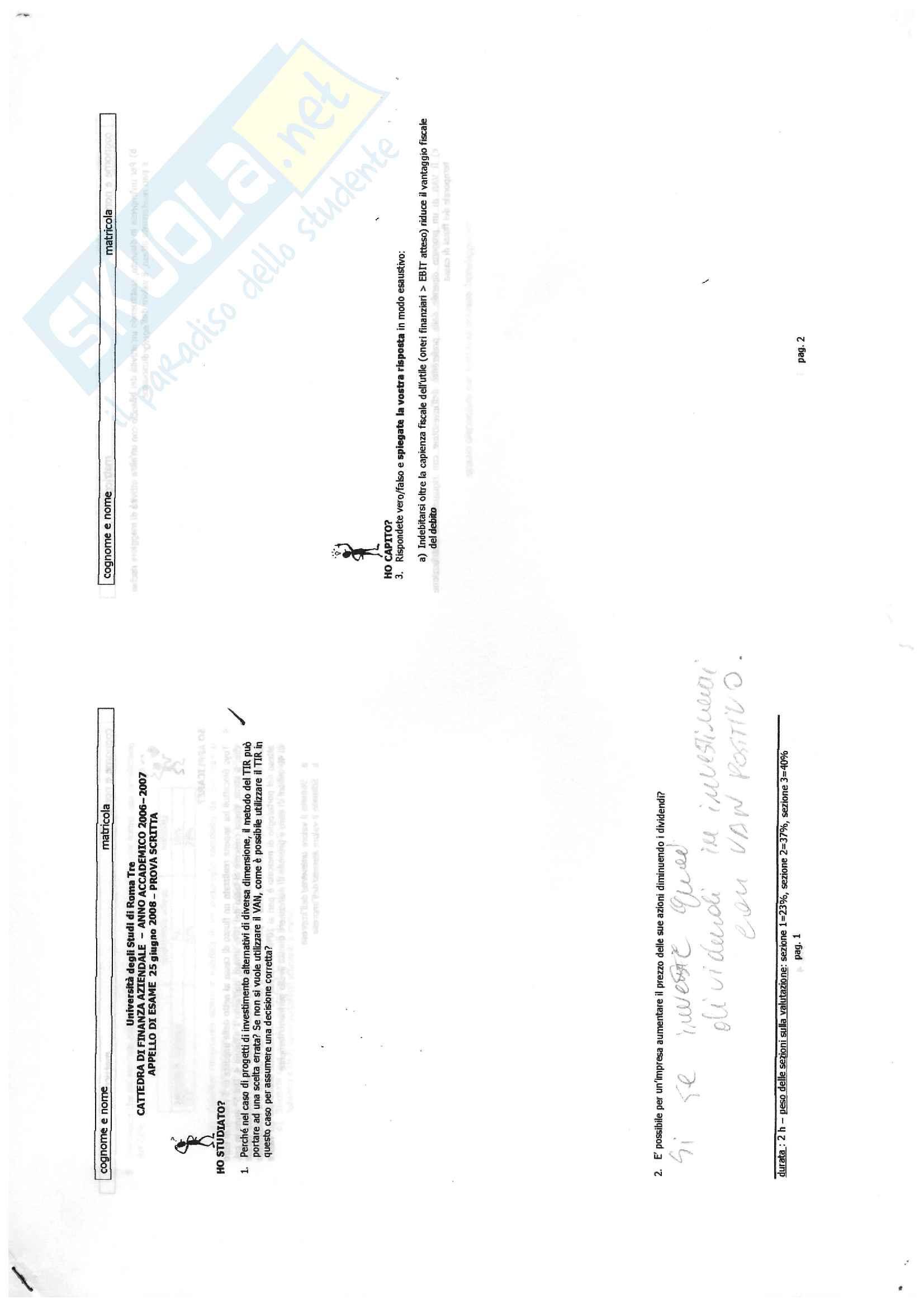 Finanza aziendale - esercizi svolti e soluzioni compito scritto Pag. 41