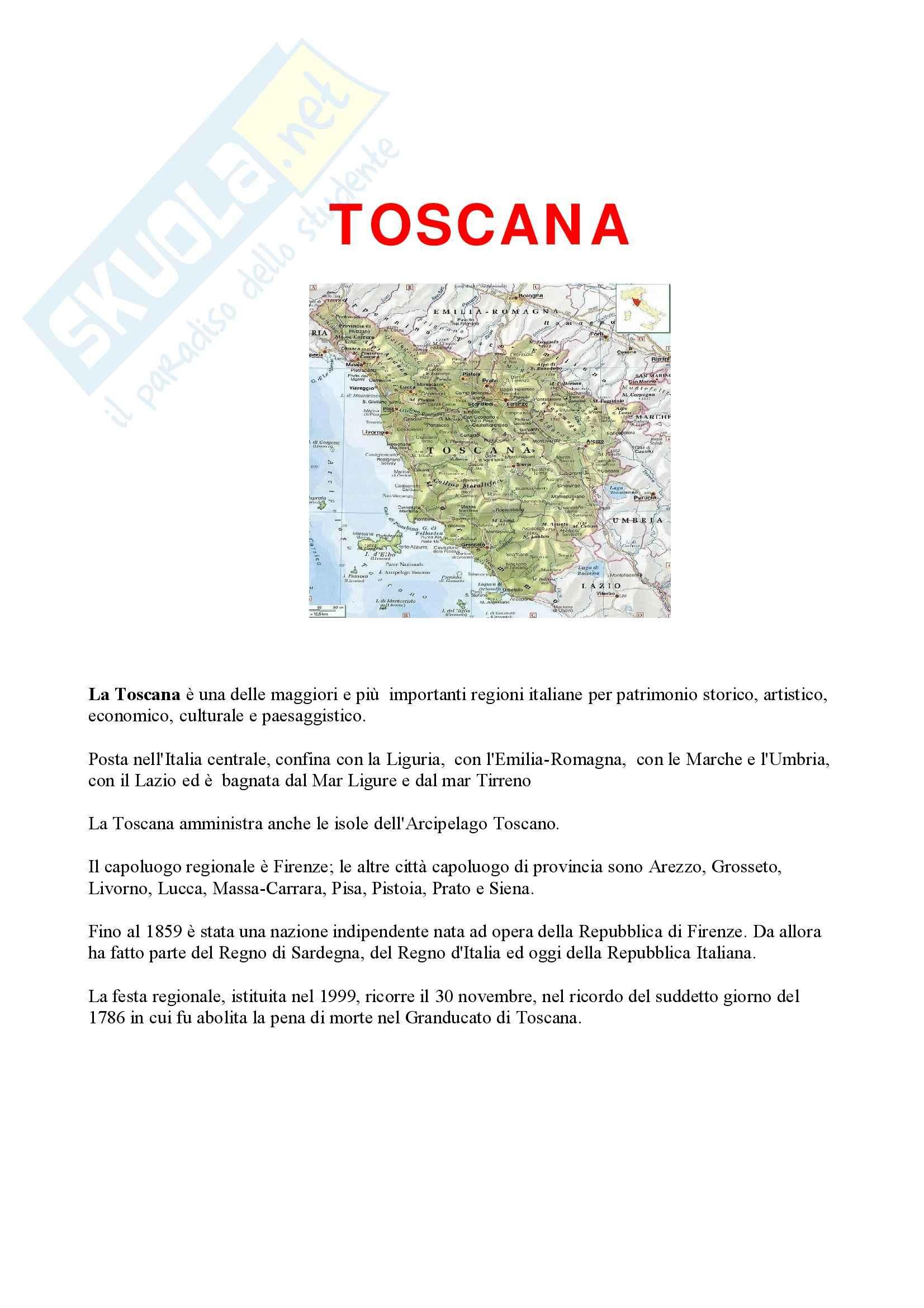 Toscana - Riassunto esame