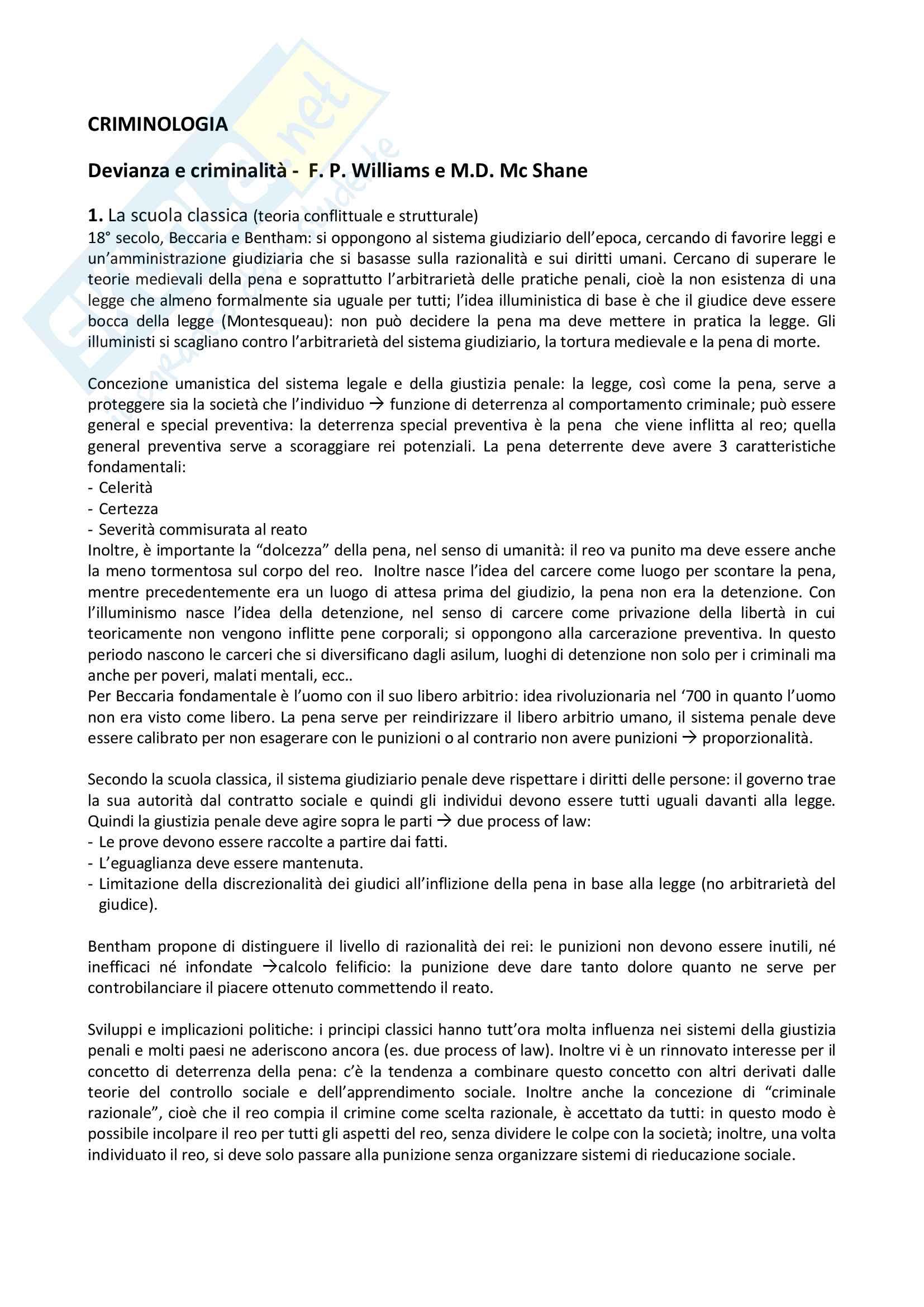 Riassunto esame di Criminologia, docente Ceretti, libro consigliato Devianza e criminalità