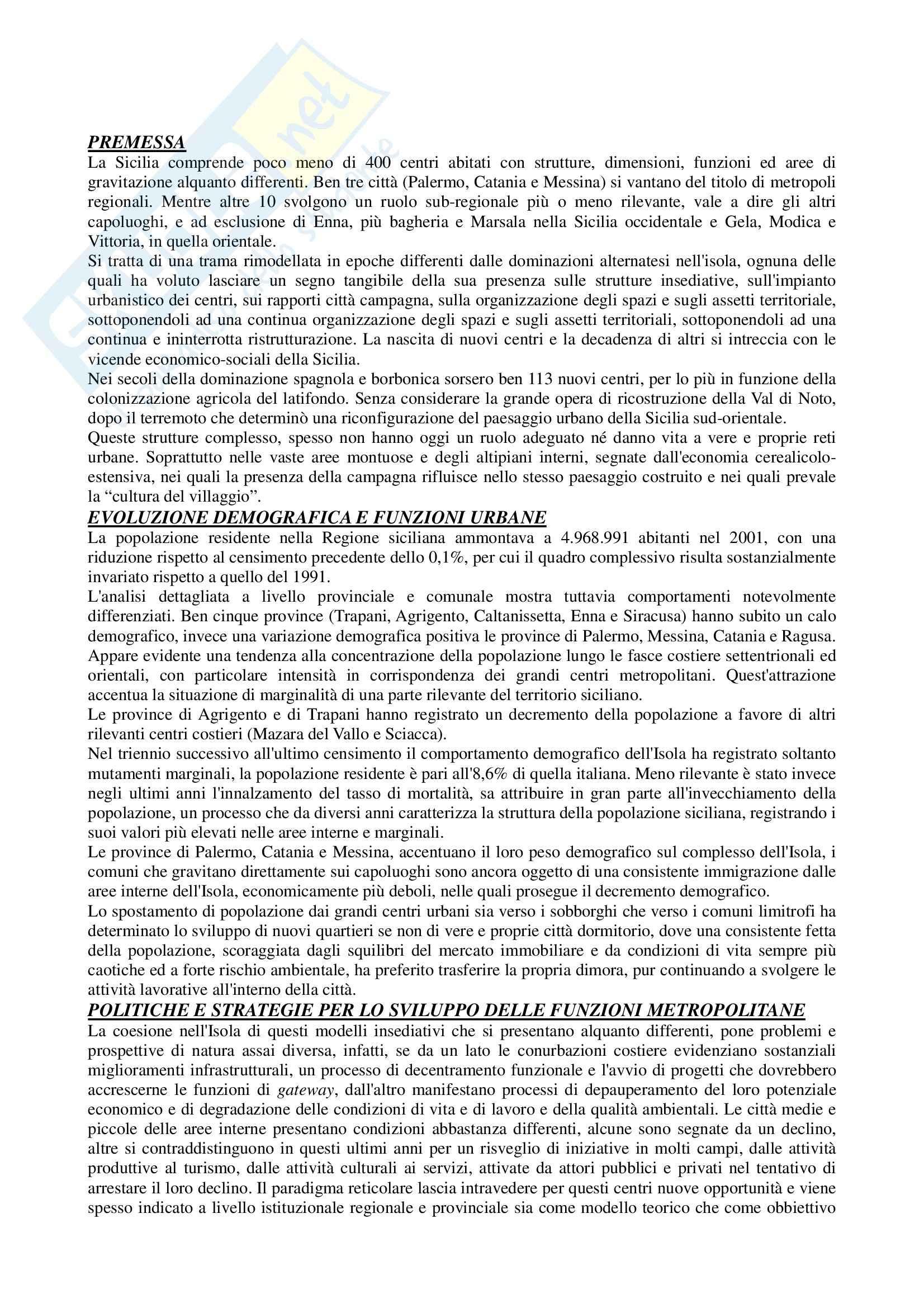 Riassunto esame Geografia economica, prof. Scrofani, libro consigliato Sistemi urbani, reti logistiche e distretti turistici in Sicilia, Ruggero