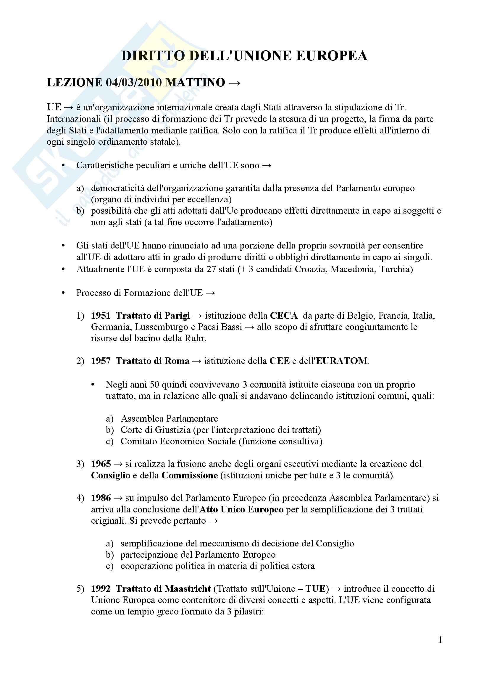 Diritto dell'Unione Europea - lezioni