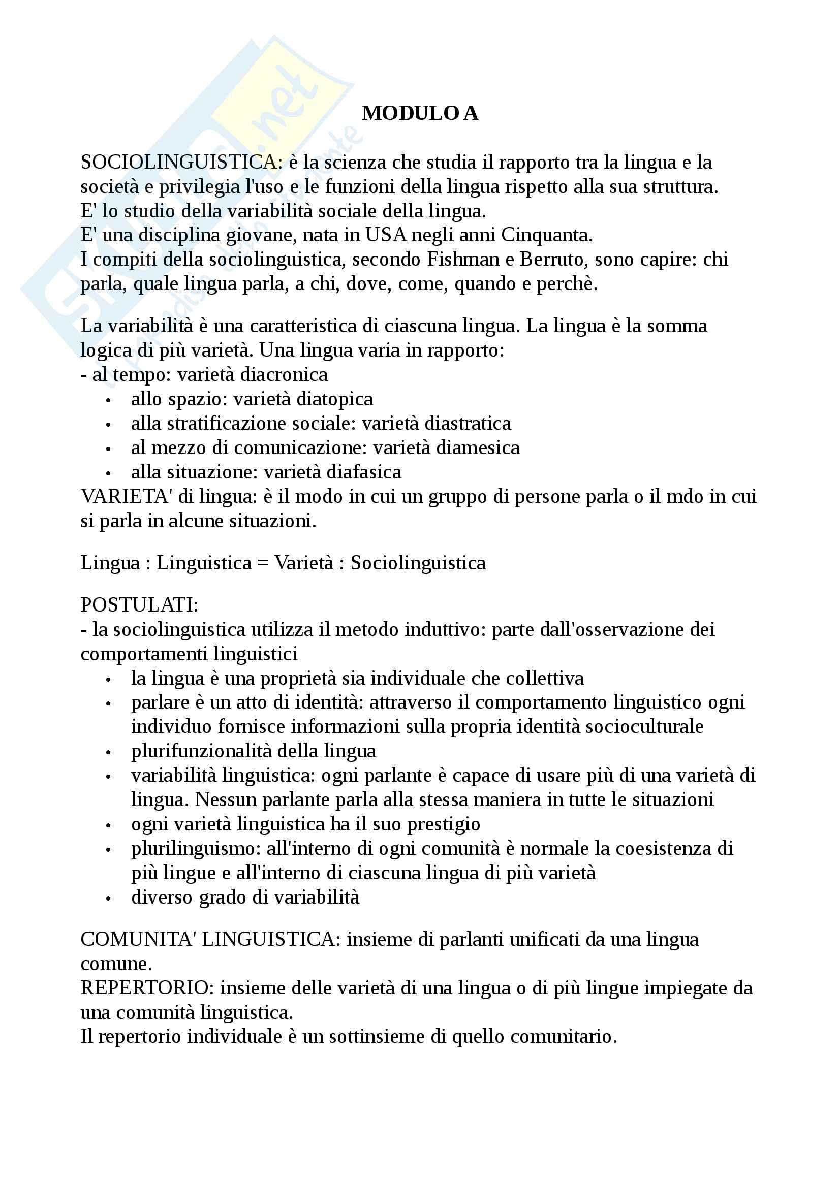 Riassunto esame sociolinguistica, prof. Alfonzetti, libro consigliato Sociolinguistica dell'italiano contemporaneo, Berruto