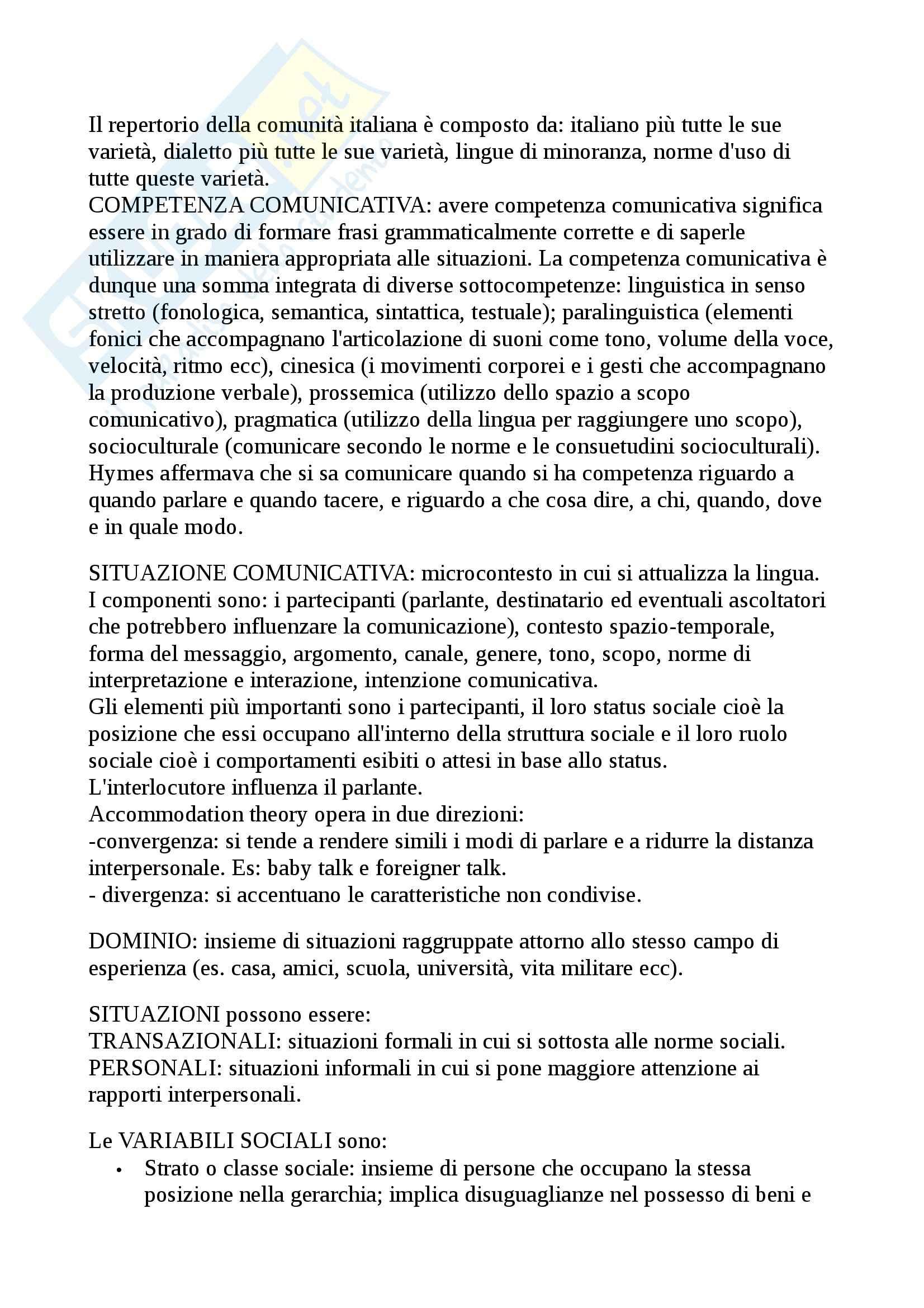 Riassunto esame sociolinguistica, prof. Alfonzetti, libro consigliato Sociolinguistica dell'italiano contemporaneo, Berruto Pag. 2