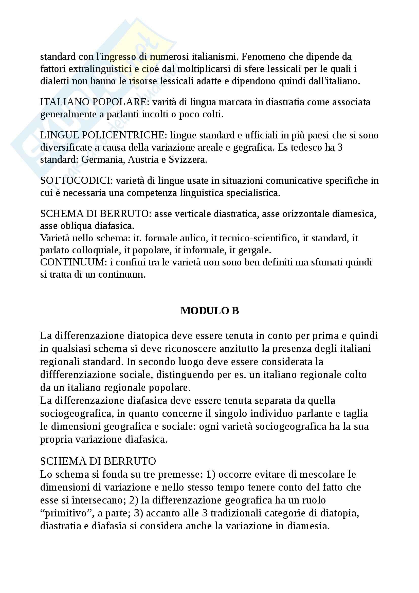 Riassunto esame sociolinguistica, prof. Alfonzetti, libro consigliato Sociolinguistica dell'italiano contemporaneo, Berruto Pag. 6