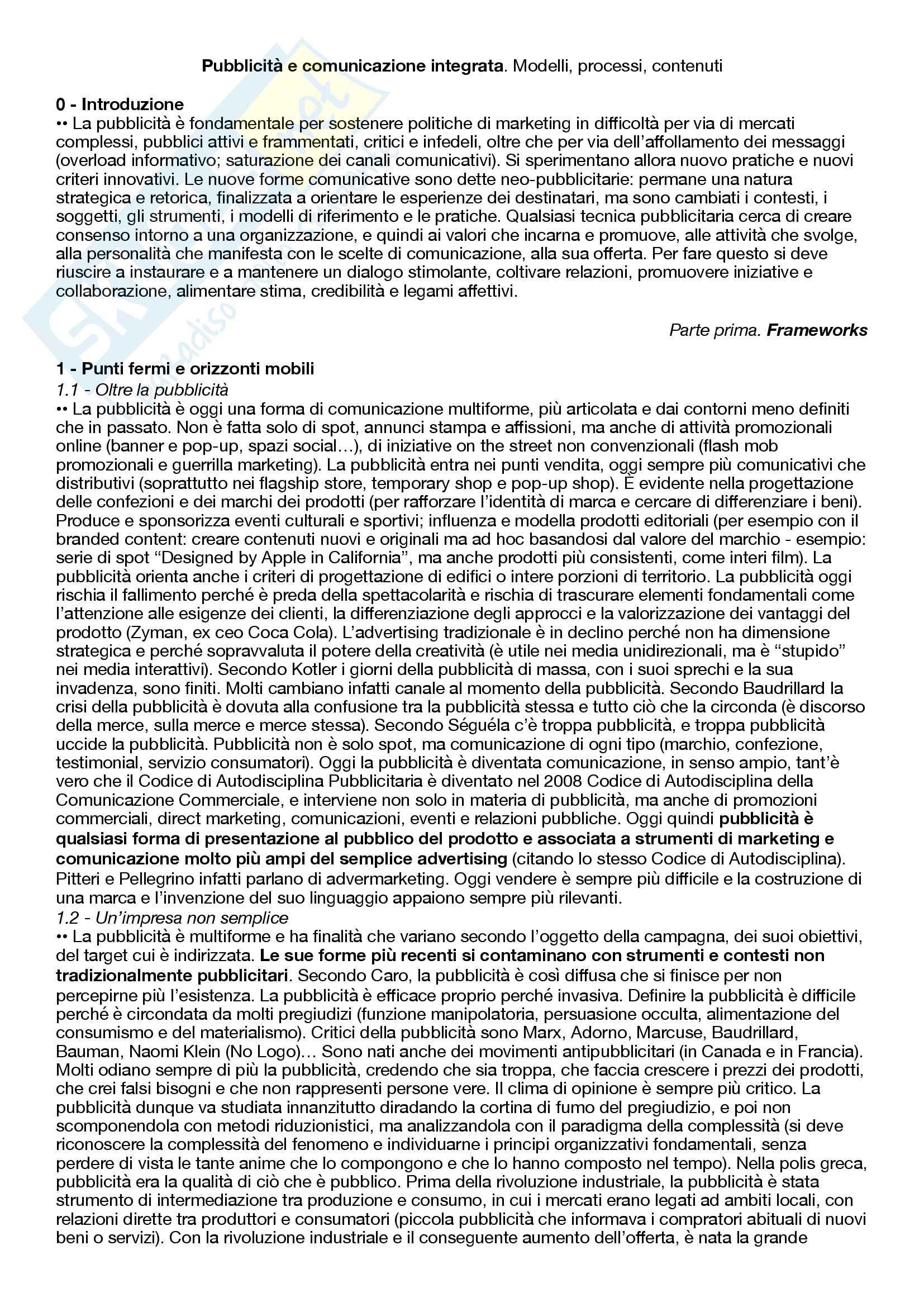 Riassunto esame Pubblicità e strategie di comunicazione integrata, prof. Panarese, libro consigliato Pubblicita' e comunicazione integrata - Modelli processi contenuti