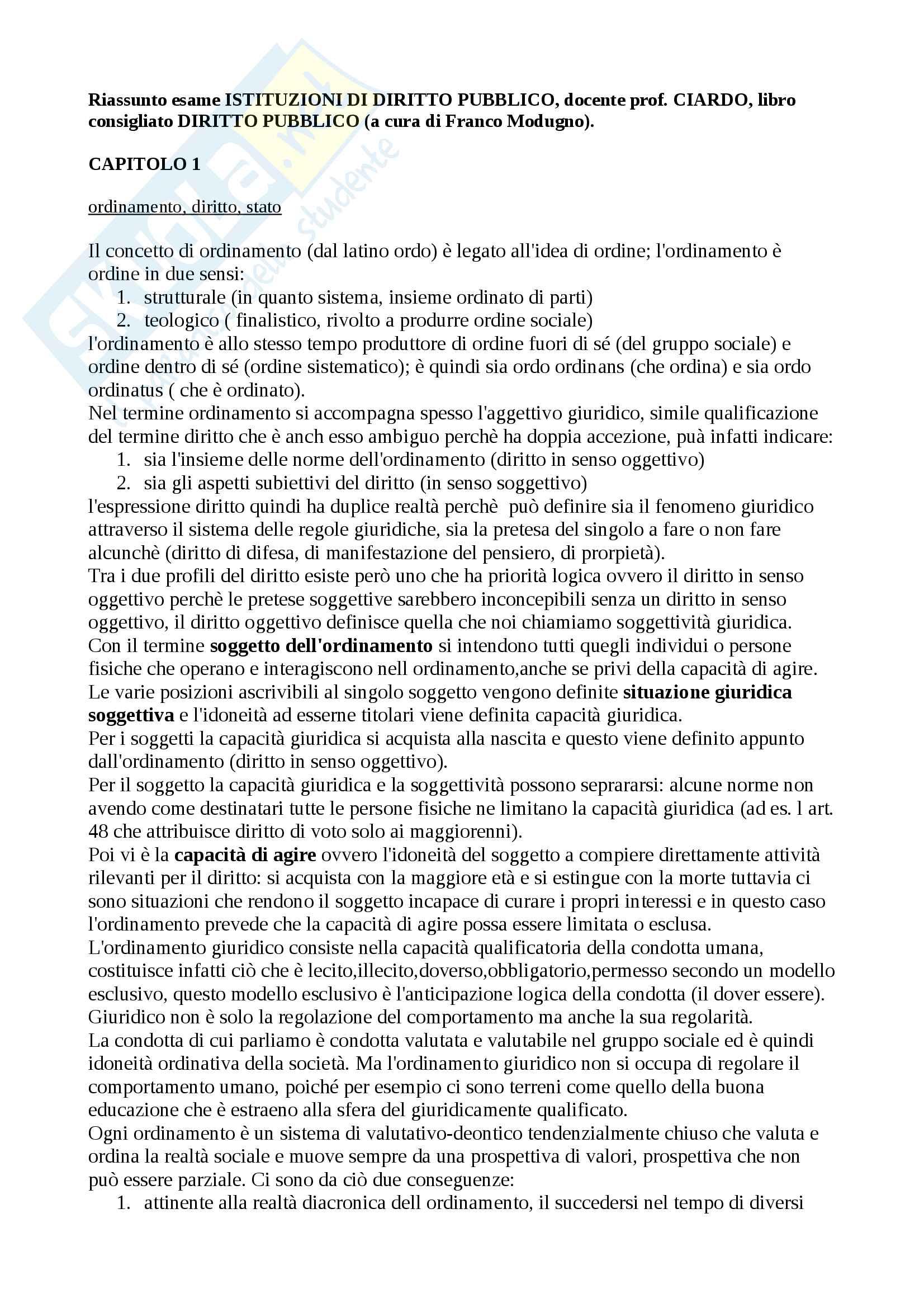 Riassunto esame Istituzioni di diritto pubblico, prof. Ciardo, libro consigliato Diritto pubblico a cura di Franco Modugno
