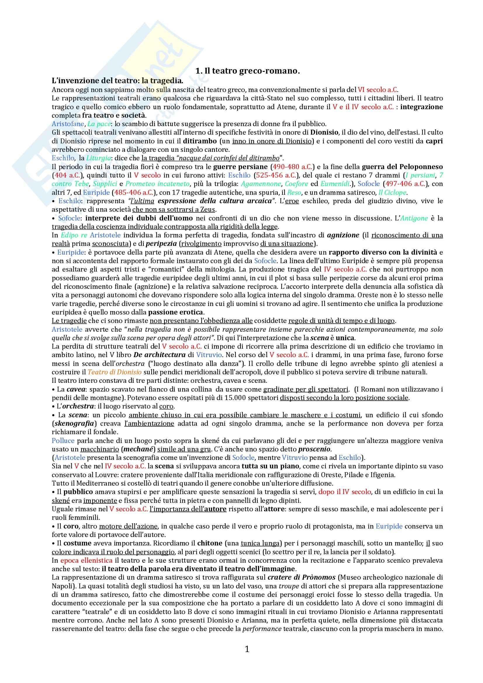 Riassunto esame Storia del teatro e dello spettacolo, prof. De Marinis, libro consigliato Breve Storia del teatro per Immagini