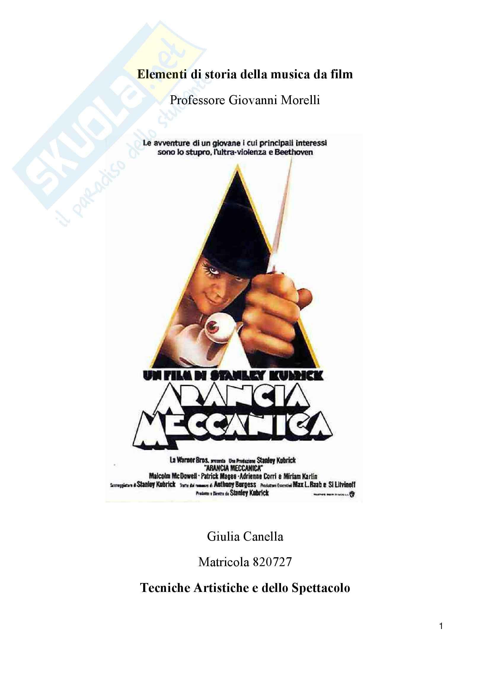 Analisi della musica e della colonna sonora in Arancia Meccanica di Stanley Kubrick