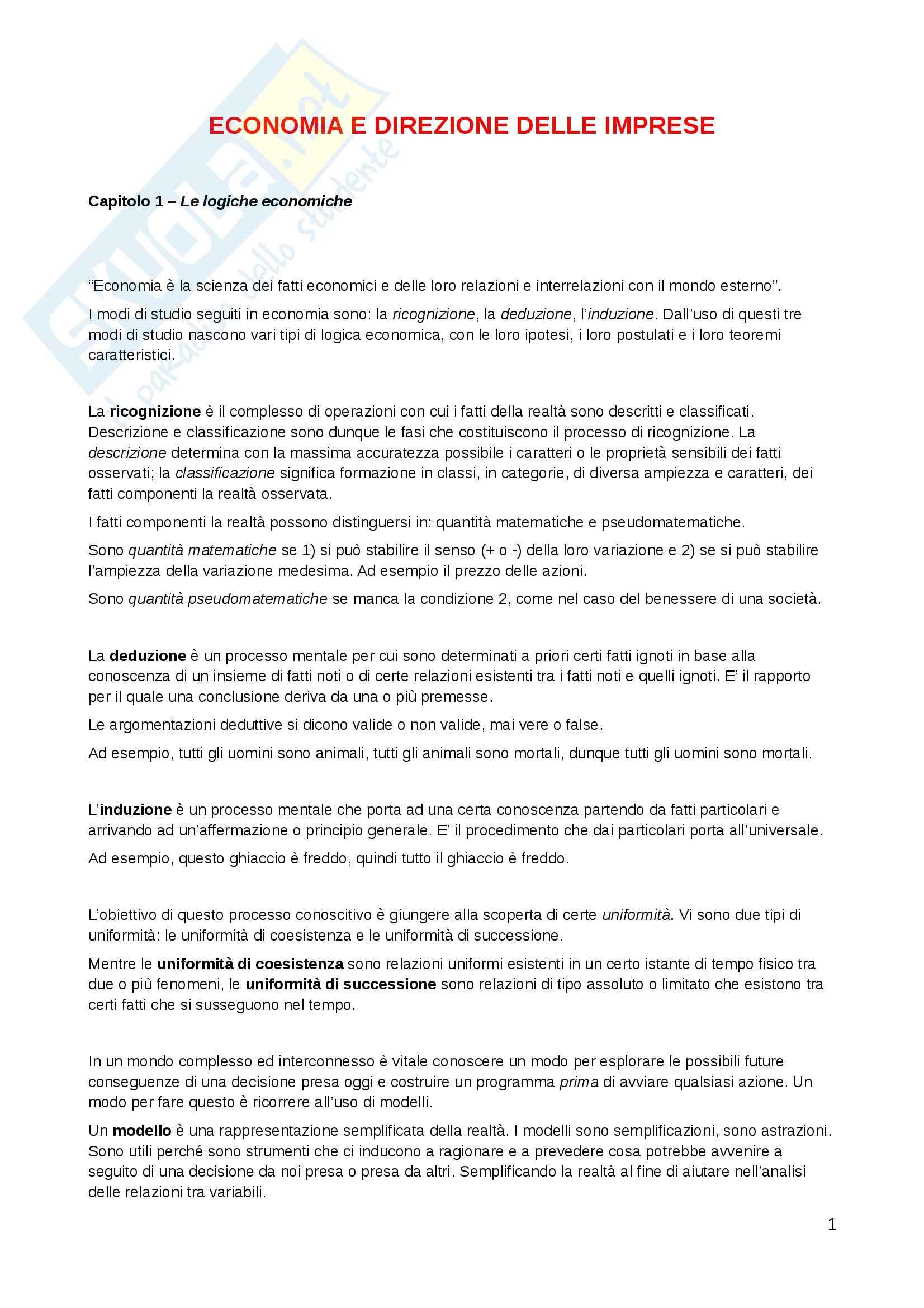 appunto G. Tardivo Economia delle imprese
