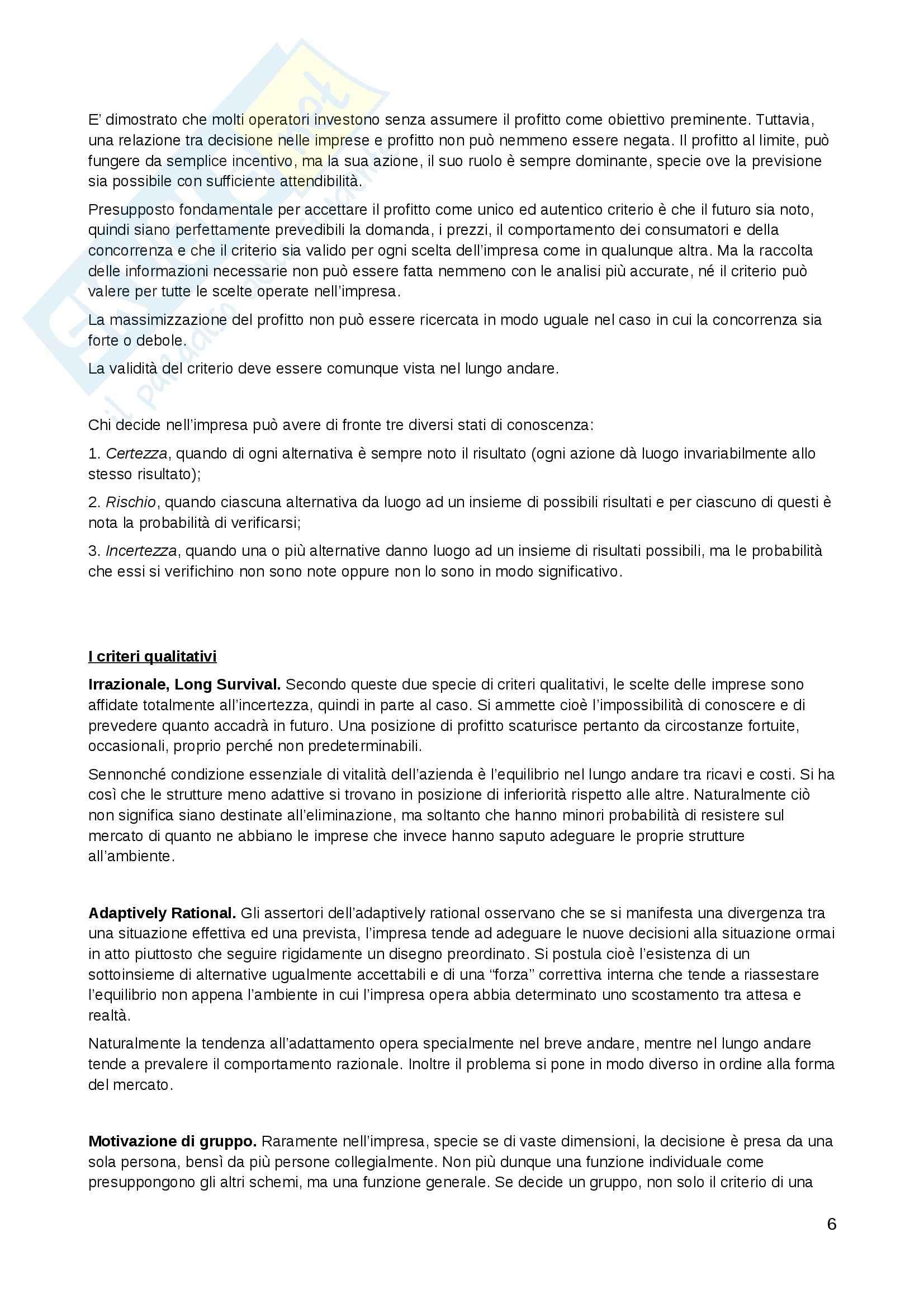 Riassunto esame Economia, prof. Tardivo, libro consigliato Economia e Direzione delle imprese, Pellicelli Pag. 6