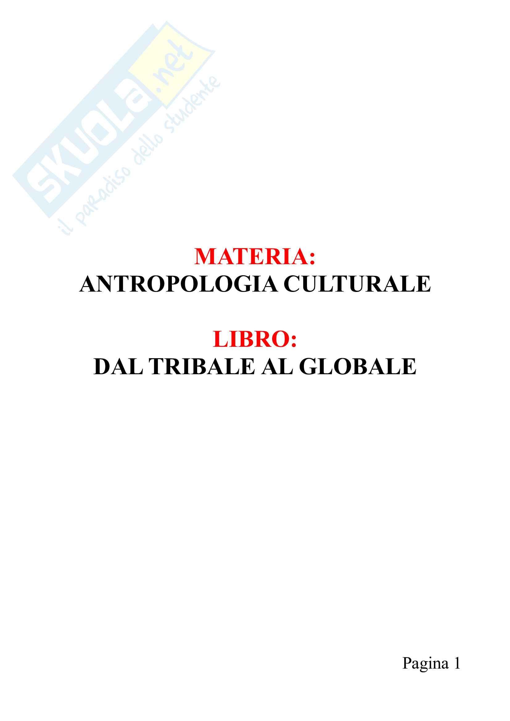 Riassunto esame Antropologia culturale, prof. De Vita,libro consigliato Dal tribale al globale,Mondadori
