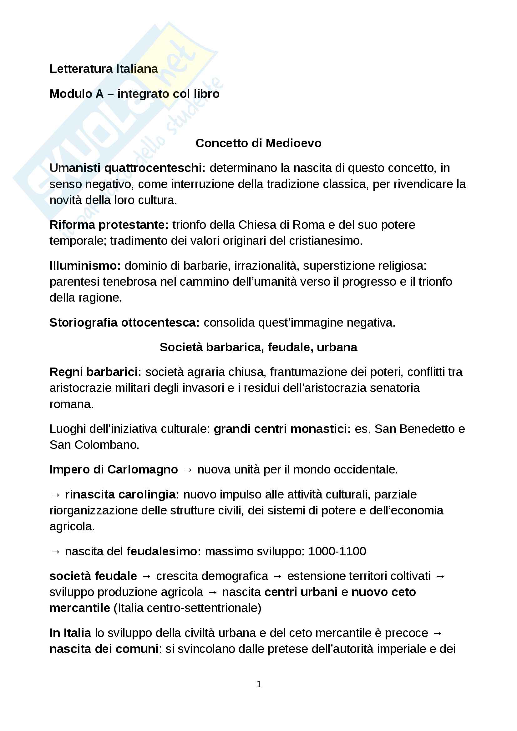 Letteratura italiana Cabrini Modulo A - storia della letteratura italiana