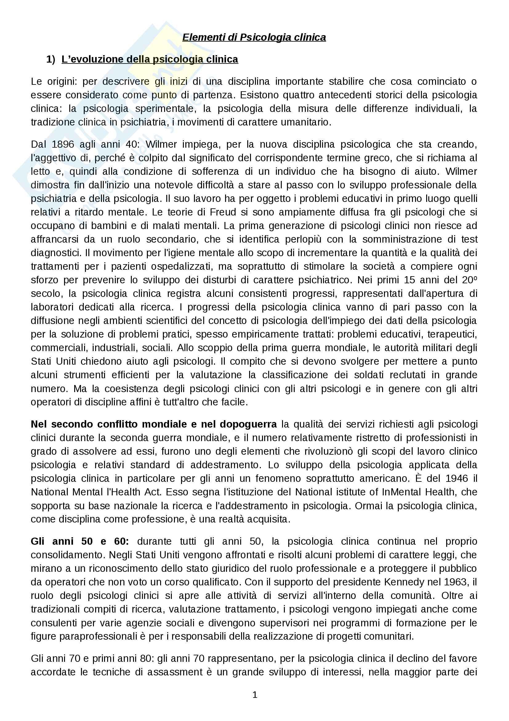 Riassunto esame Psicoterapia, prof. Lo Verso, libro consigliato Elementi di Psicologia clinica