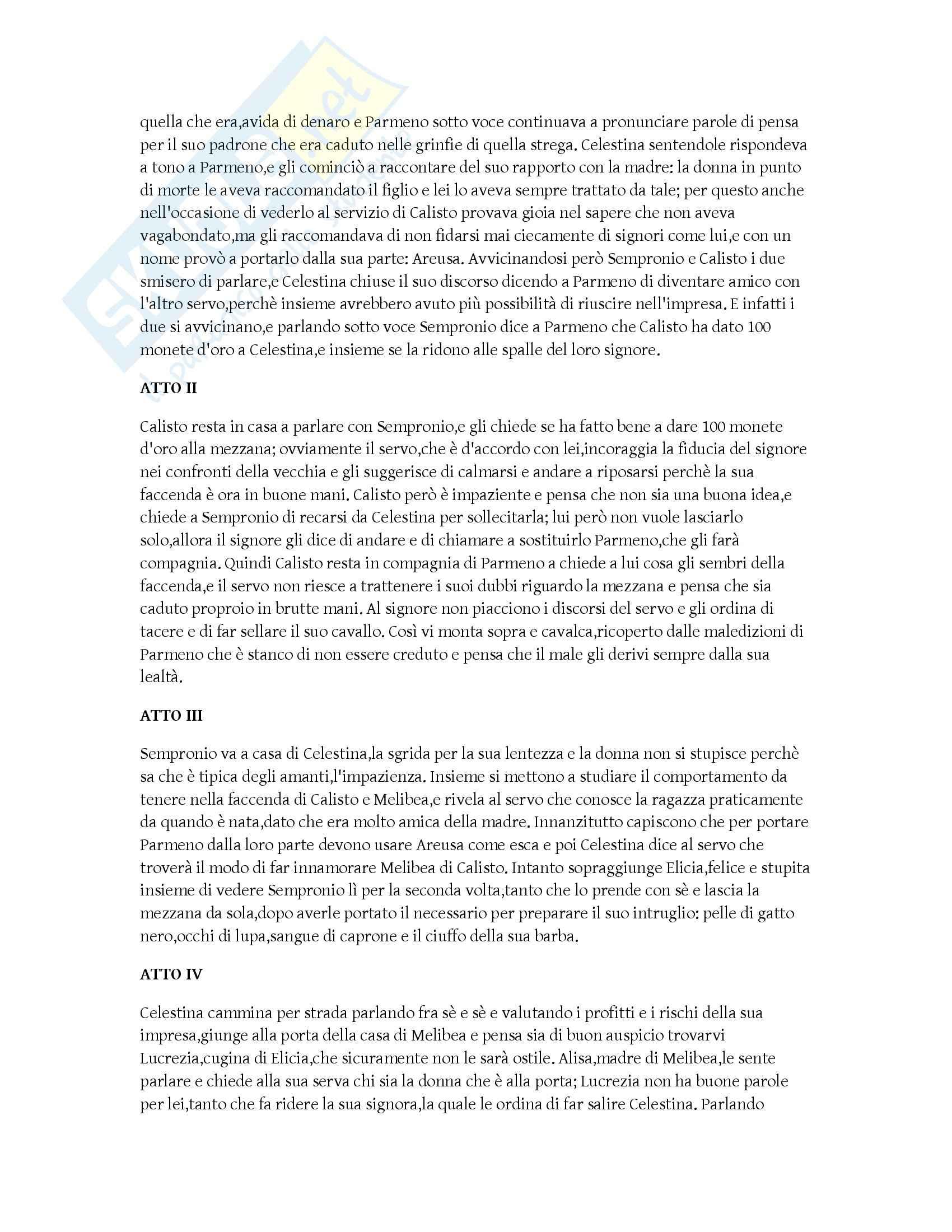Riassunto esame Letteratura spagnola, prof. Gargano, libro consigliato La Celestina, de Rojas Pag. 2