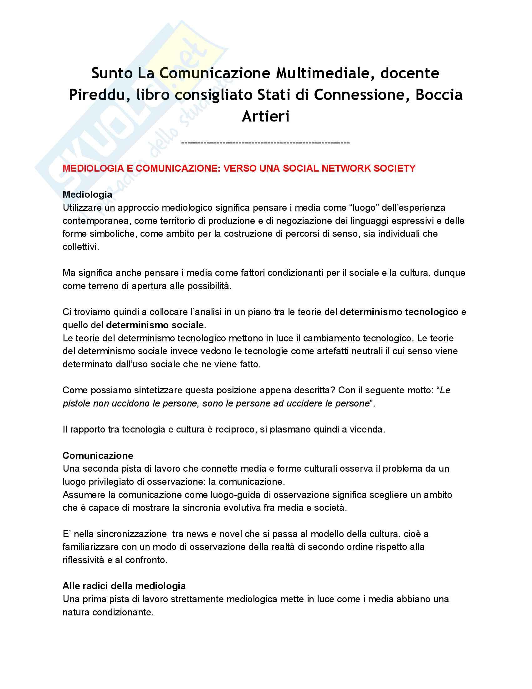 Riassunto esame La Comunicazione Multimediale, docente Pireddu, libro consigliato Stati di Connessione, Boccia Artieri