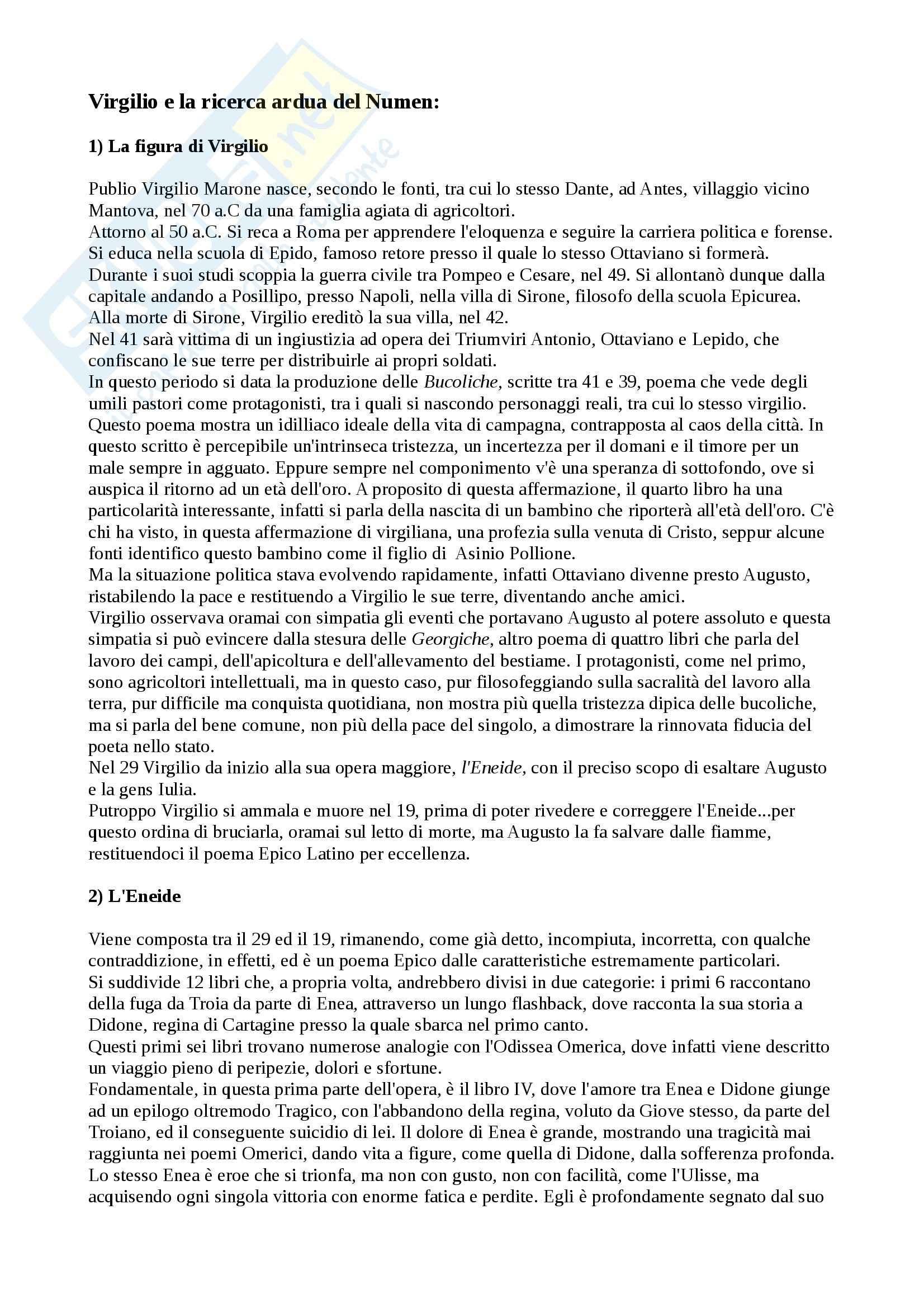 Lingua e letteratura latina - Virgilio e l' eneide