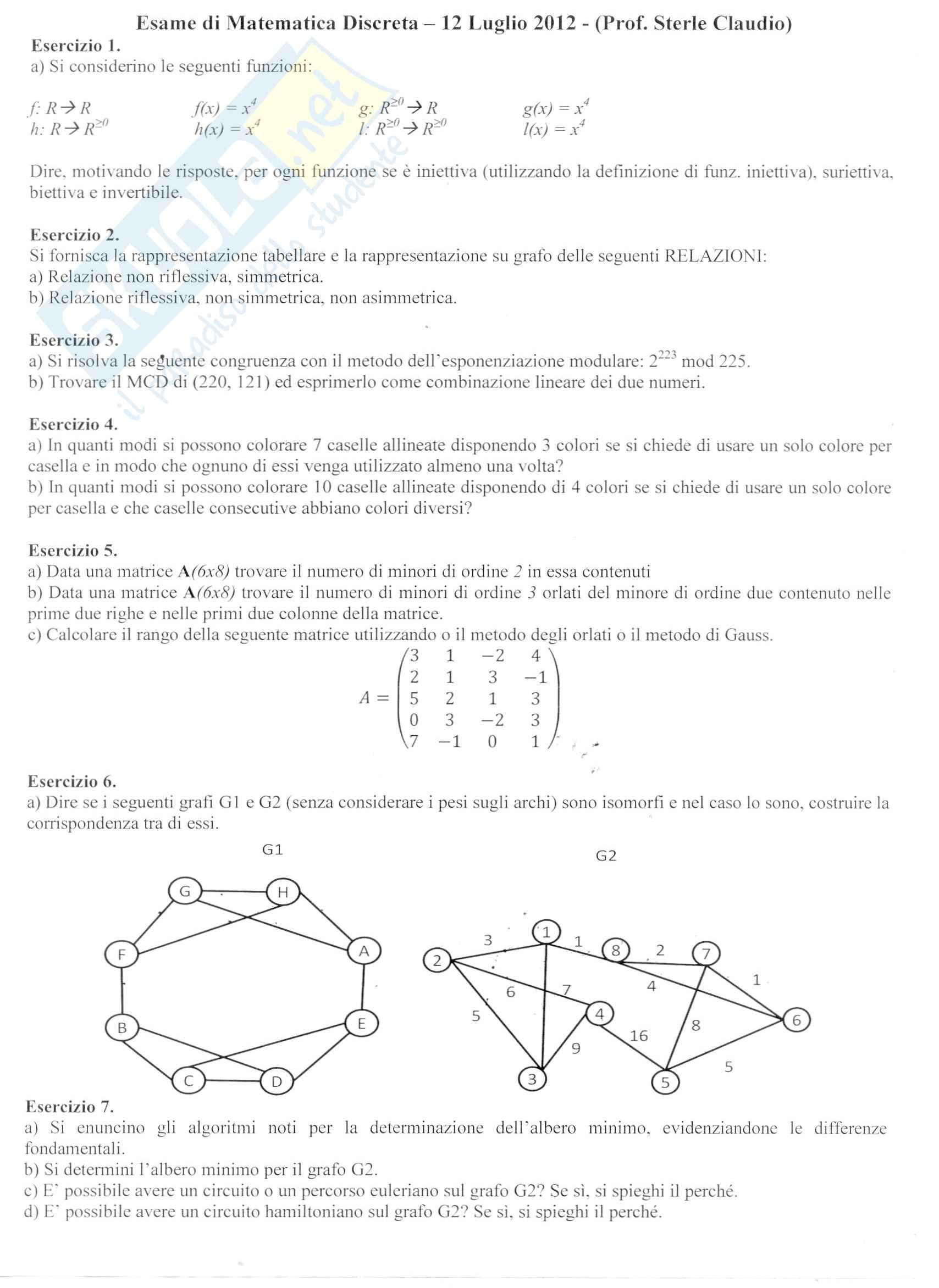 esercitazione C. Sterle Matematica Discreta