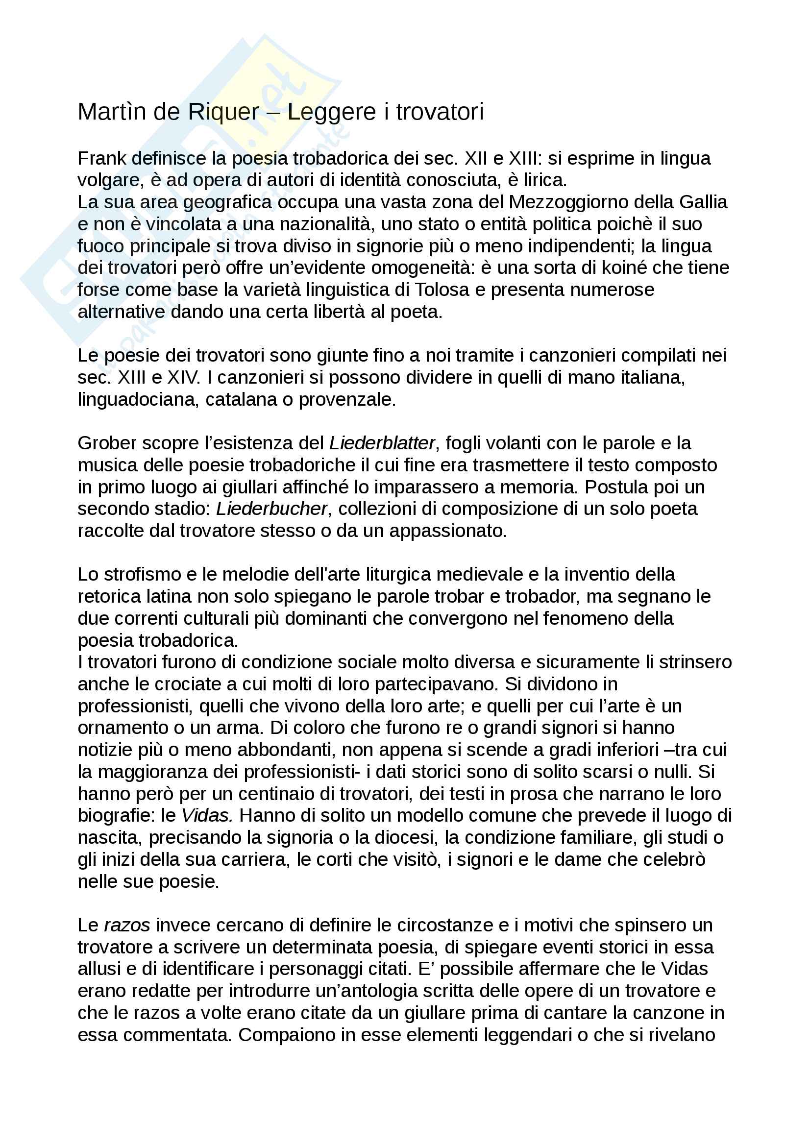 Riassunto esame Filologia romanza, Prof. Canettieri. Libro consigliato Leggere i trovatori, M. de Riquer