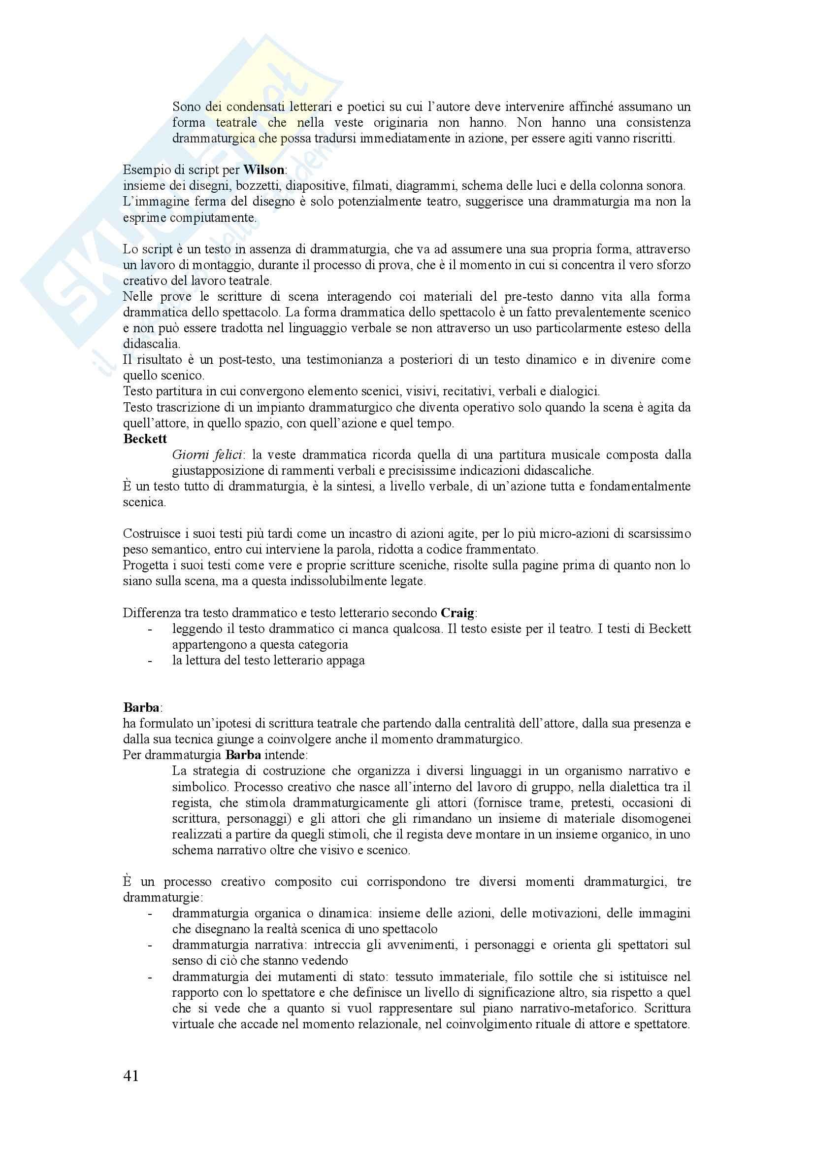 Riassunto esame Storia del teatro, prof. Valenti, libro consigliato La scrittura scenica, Mango Pag. 41