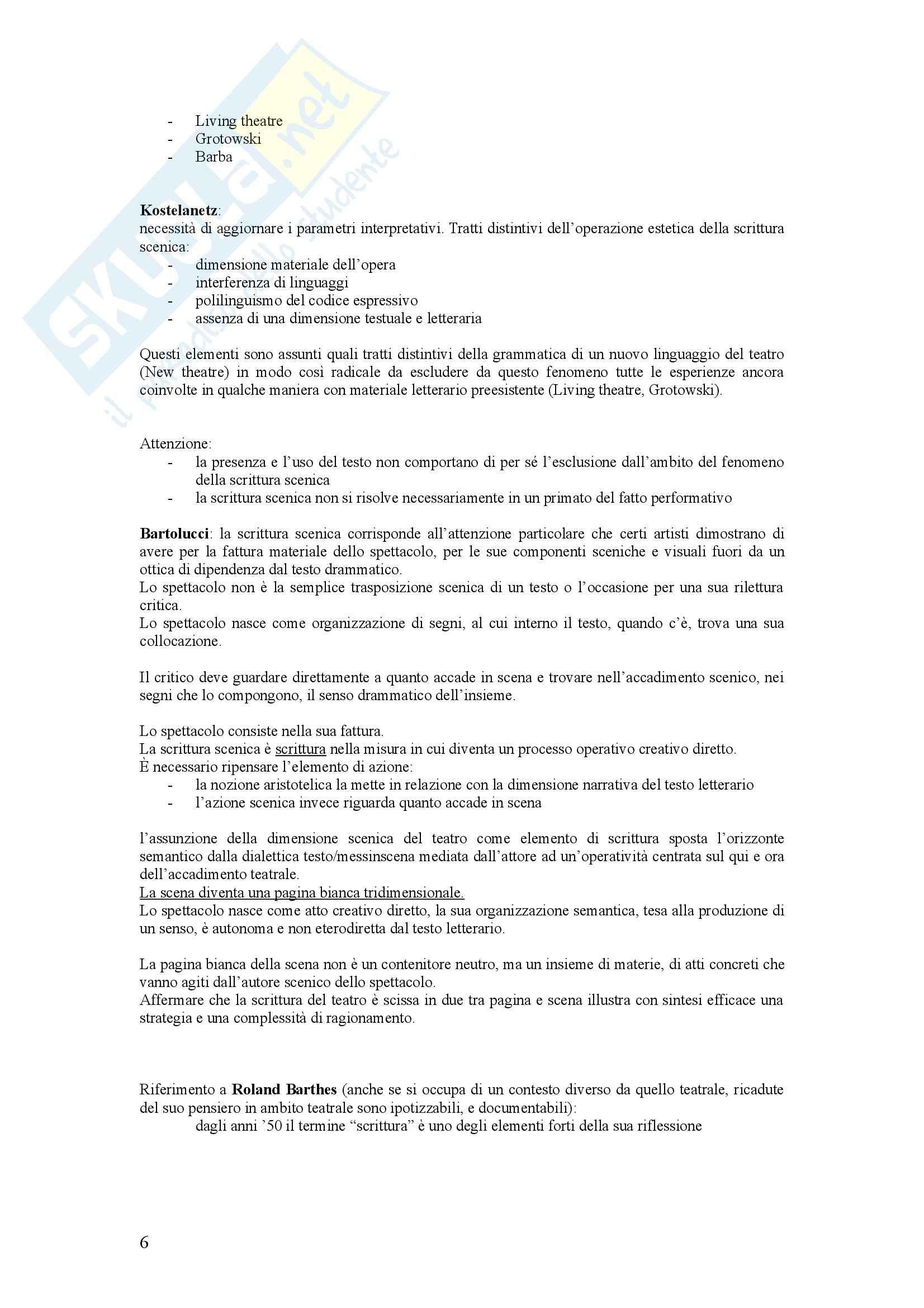 Riassunto esame Storia del teatro, prof. Valenti, libro consigliato La scrittura scenica, Mango Pag. 6