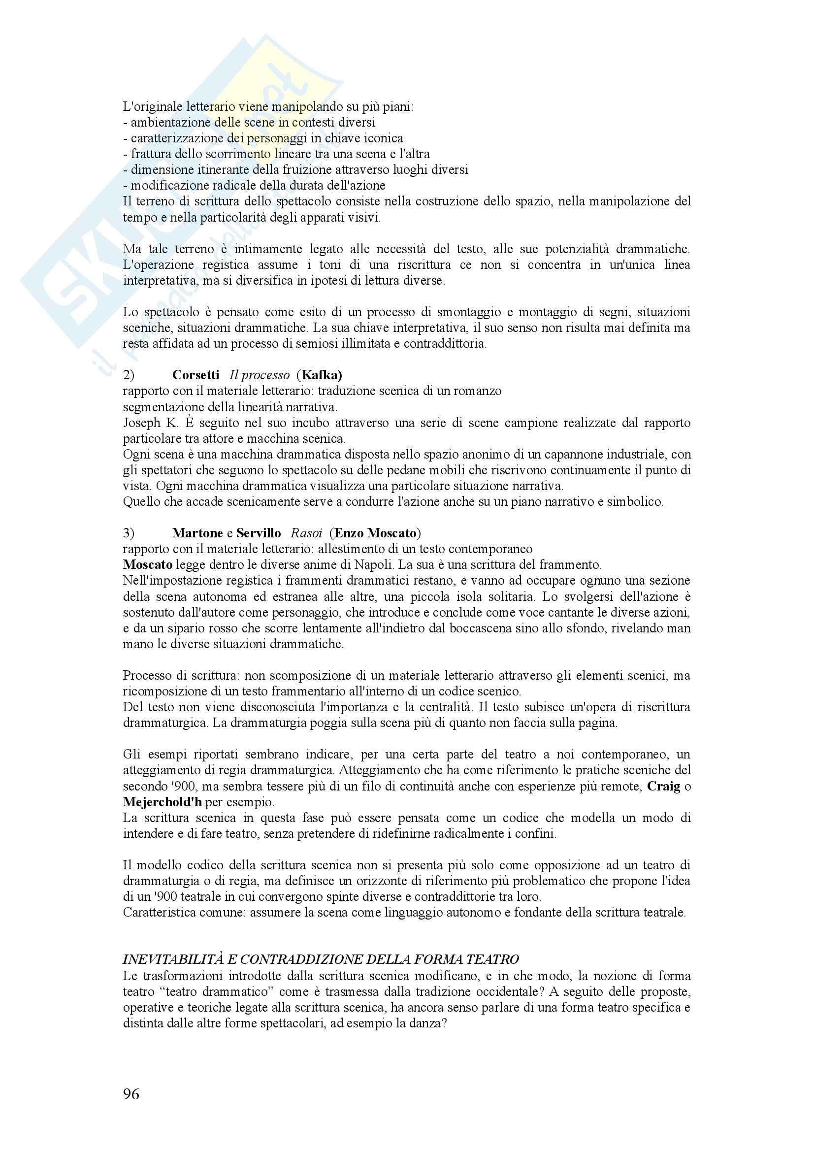 Riassunto esame Storia del teatro, prof. Valenti, libro consigliato La scrittura scenica, Mango Pag. 96