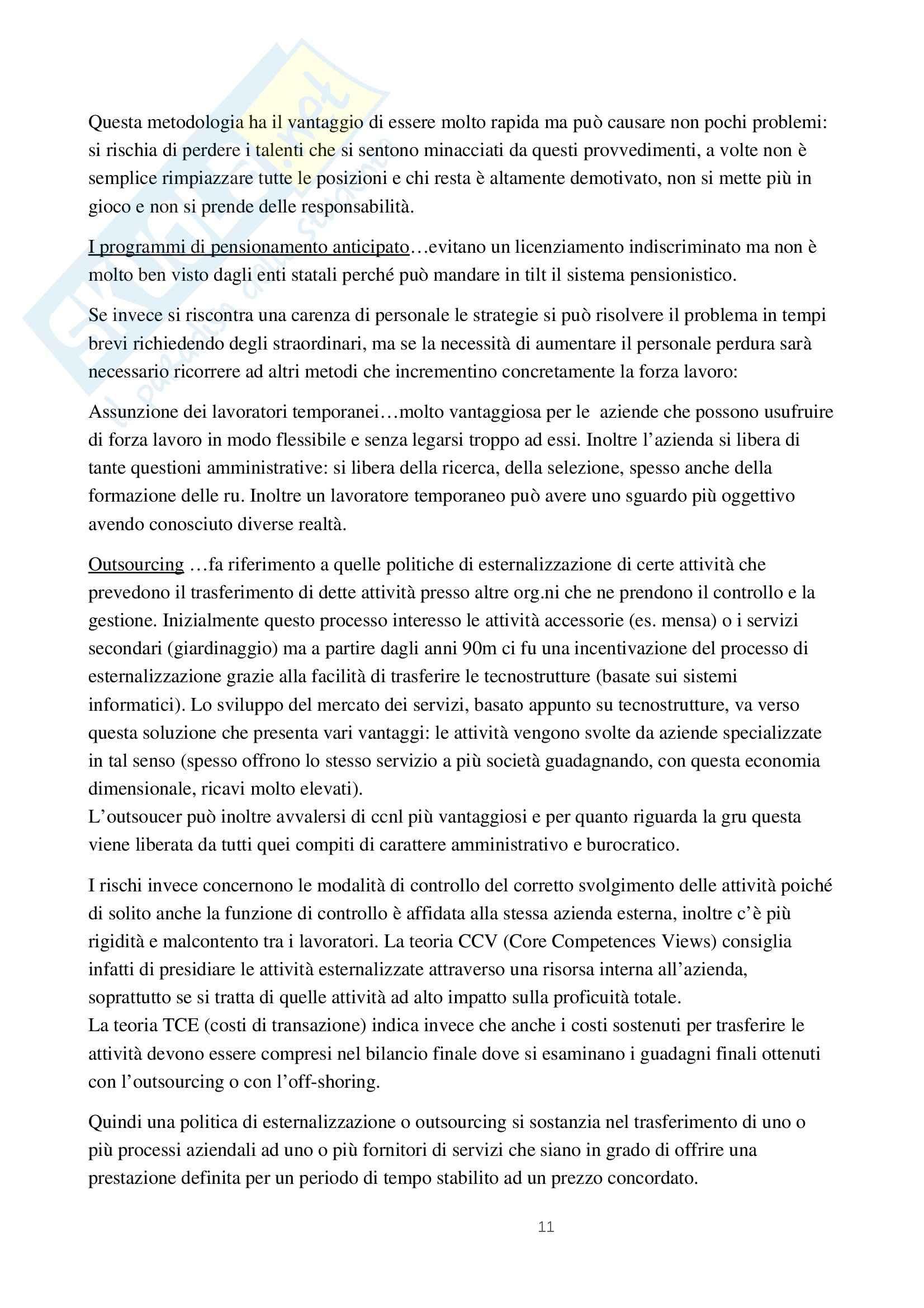Riassunto esame Organizzazione risorse, prof. Paoletti, libro consigliato Gestione delle risorse umane, Noe Pag. 11