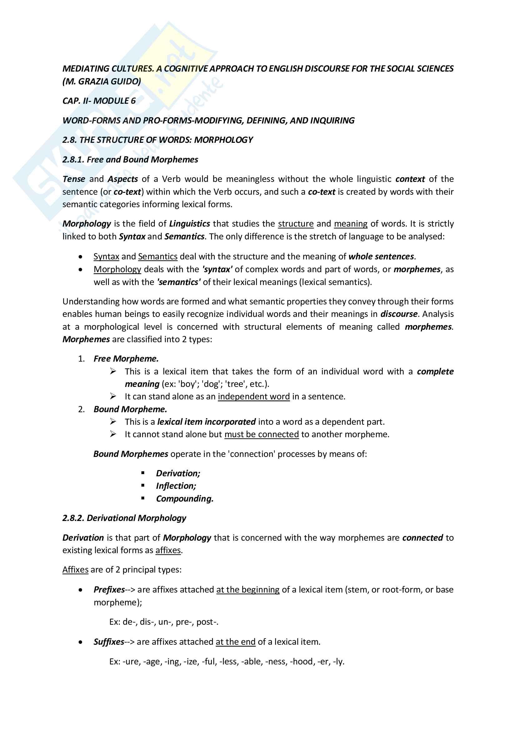 Riassunto esame Lingua e traduzione inglese 3, prof. Iaia, libro consigliato Mediating Cultures, Guido