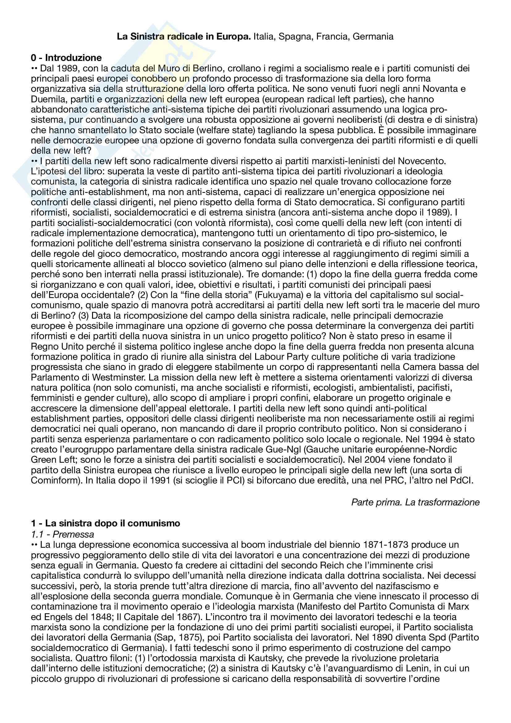 Riassunto esame Partecipazione e comunicazione politica, prof. De Nardis, libro consigliato La sinistra radicale in Europa - Italia, Spagna, Francia e Germania