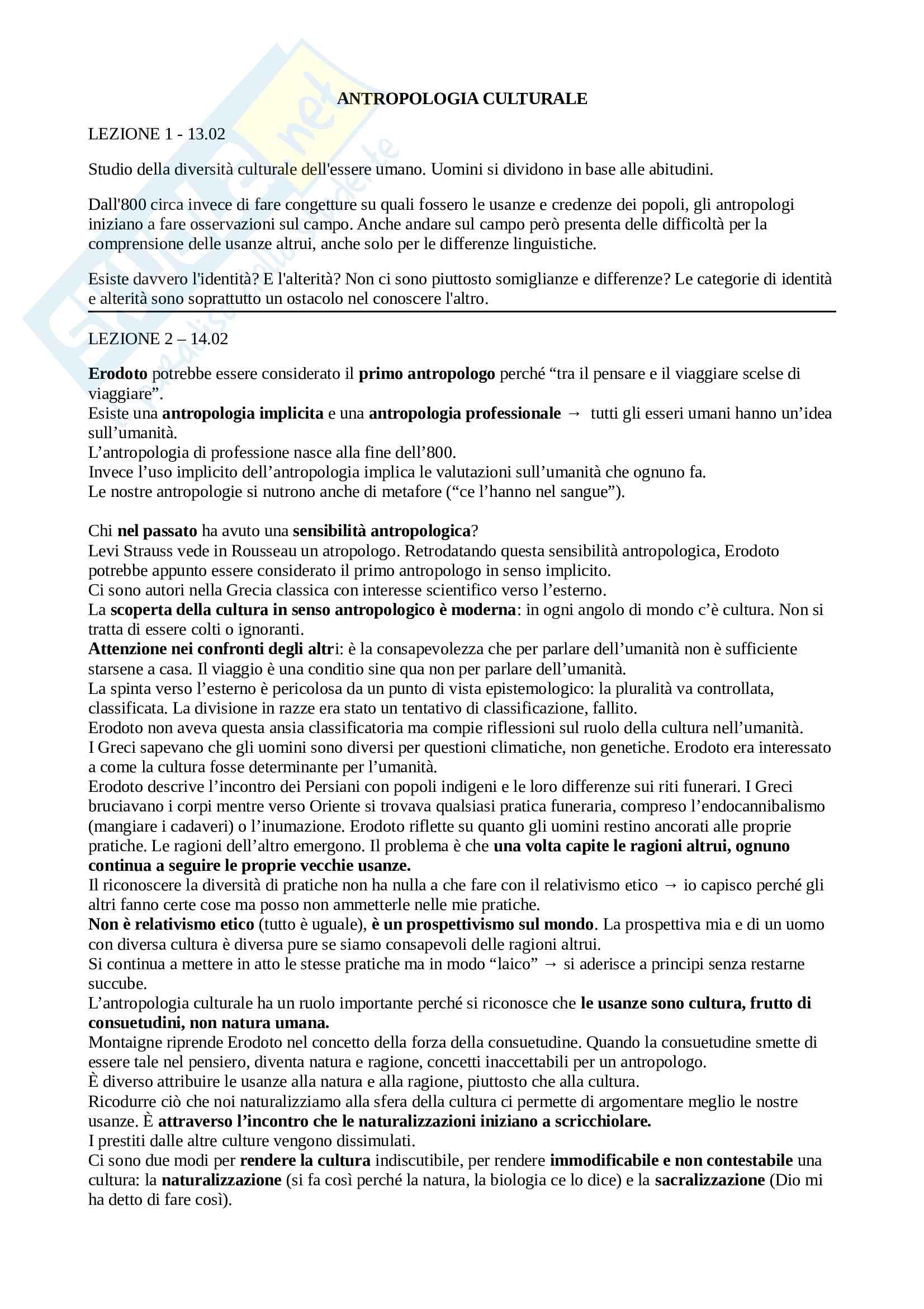 Appunti delle lezioni per l'esame di Antropologia culturale del prof. Allovio