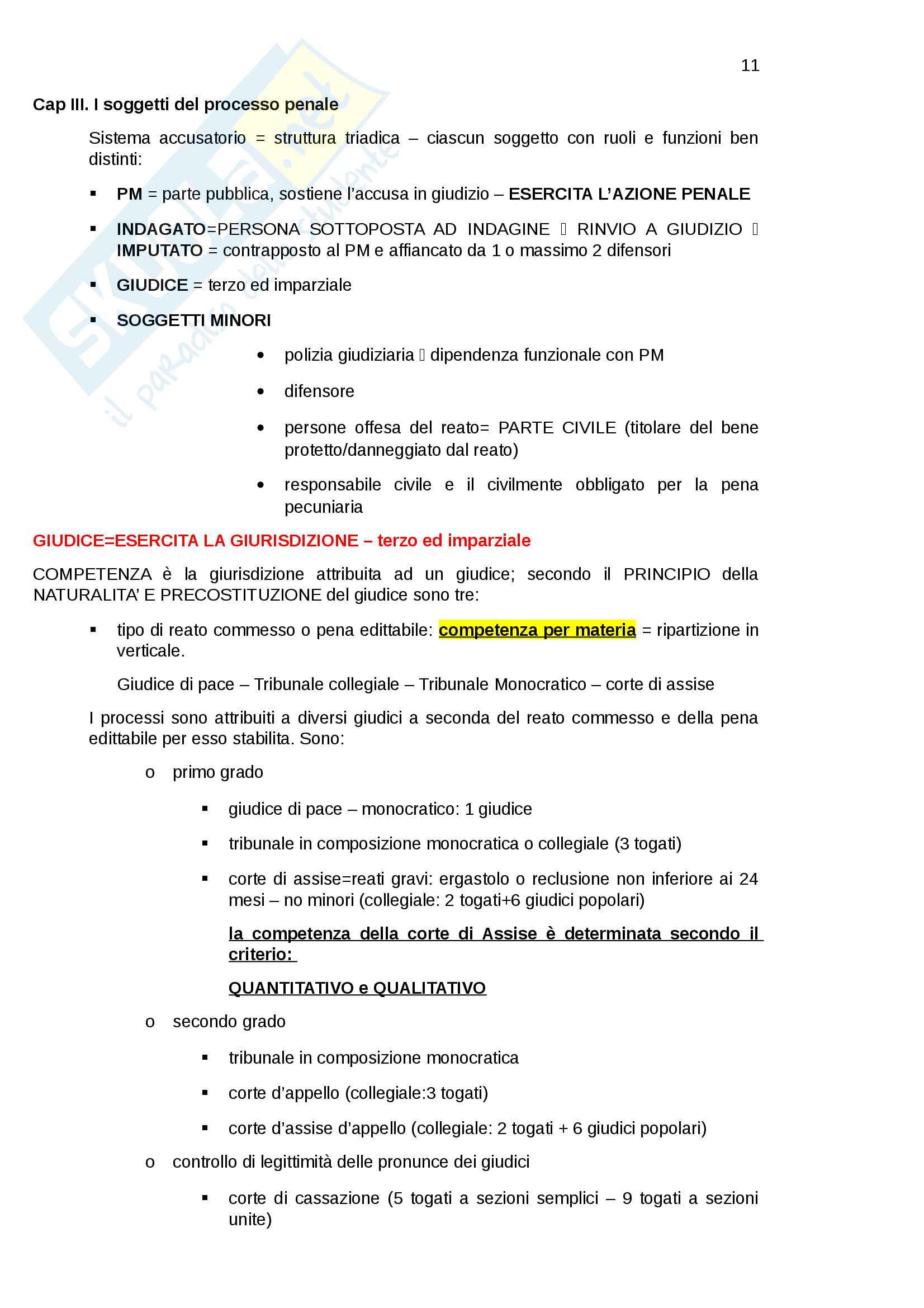 Riassunto esame Istituzioni di diritto e procedura penale Pag. 11