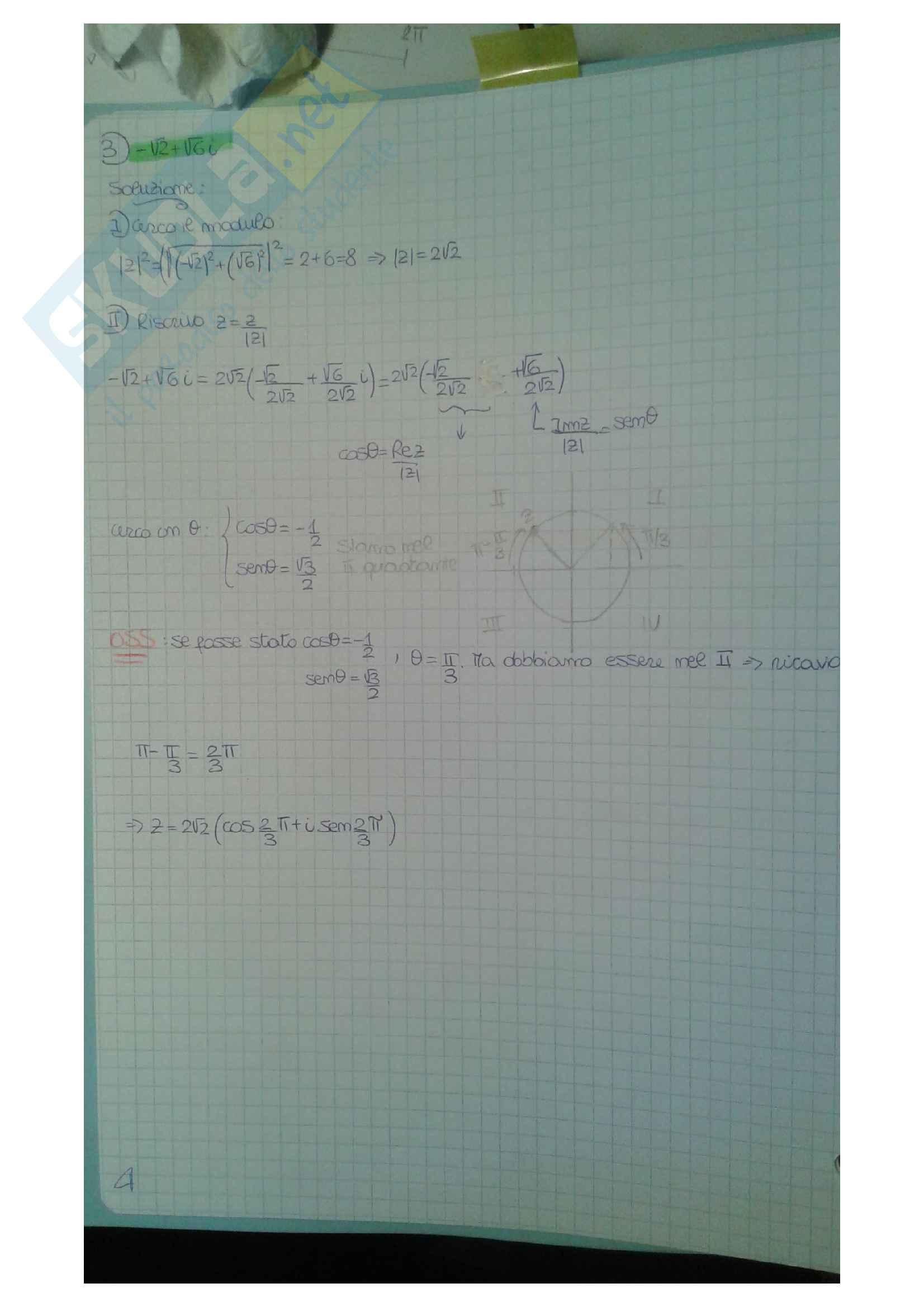 Numeri complessi, proprietà e rappresentazione Pag. 6