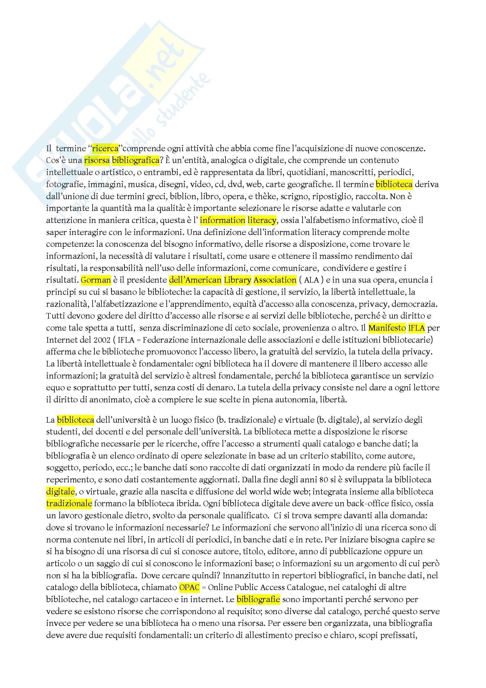 Riassunto esame Biblioteconomia, prof. Montecchi, libro consigliato La biblioteconomia spiegata agli studenti universitari, Guerrini