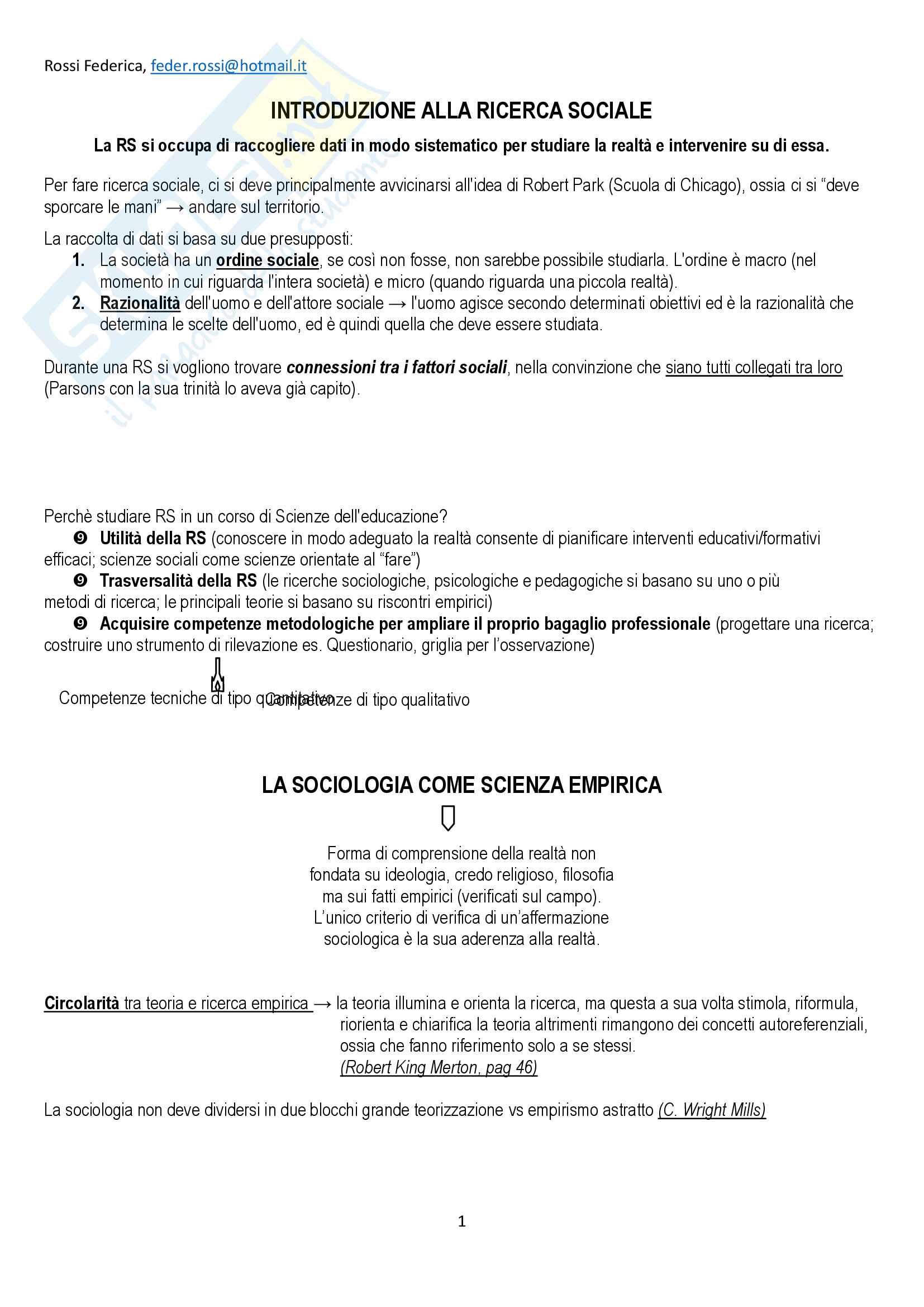 """Riassunto esame Metodi e strumenti della sociologia, prof V. Corradi, libro consigliato """"Ricerca sociale"""", Palumbo"""