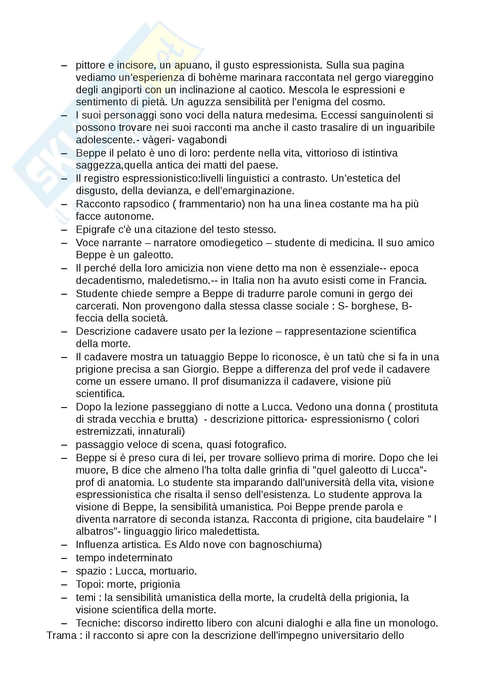 Riassunto esame Letteratura italiana contemporanea, prof. Bardini, libro consigliato Racconti italiani del Novecento, Siciliano