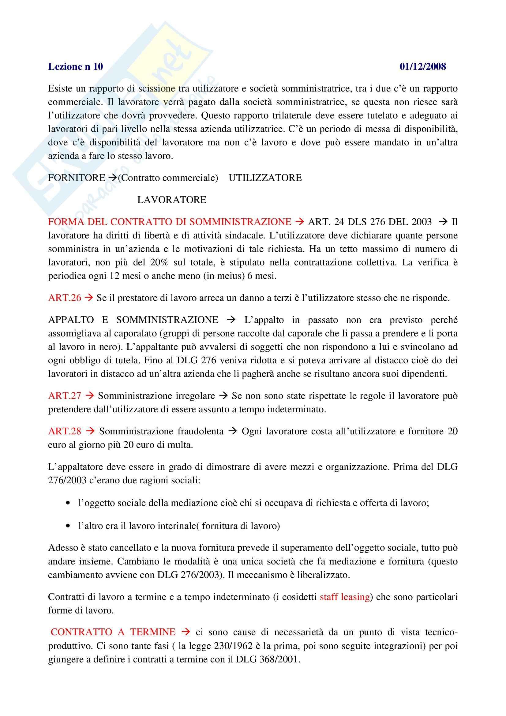 Diritto del lavoro - il contratto di somministrazione