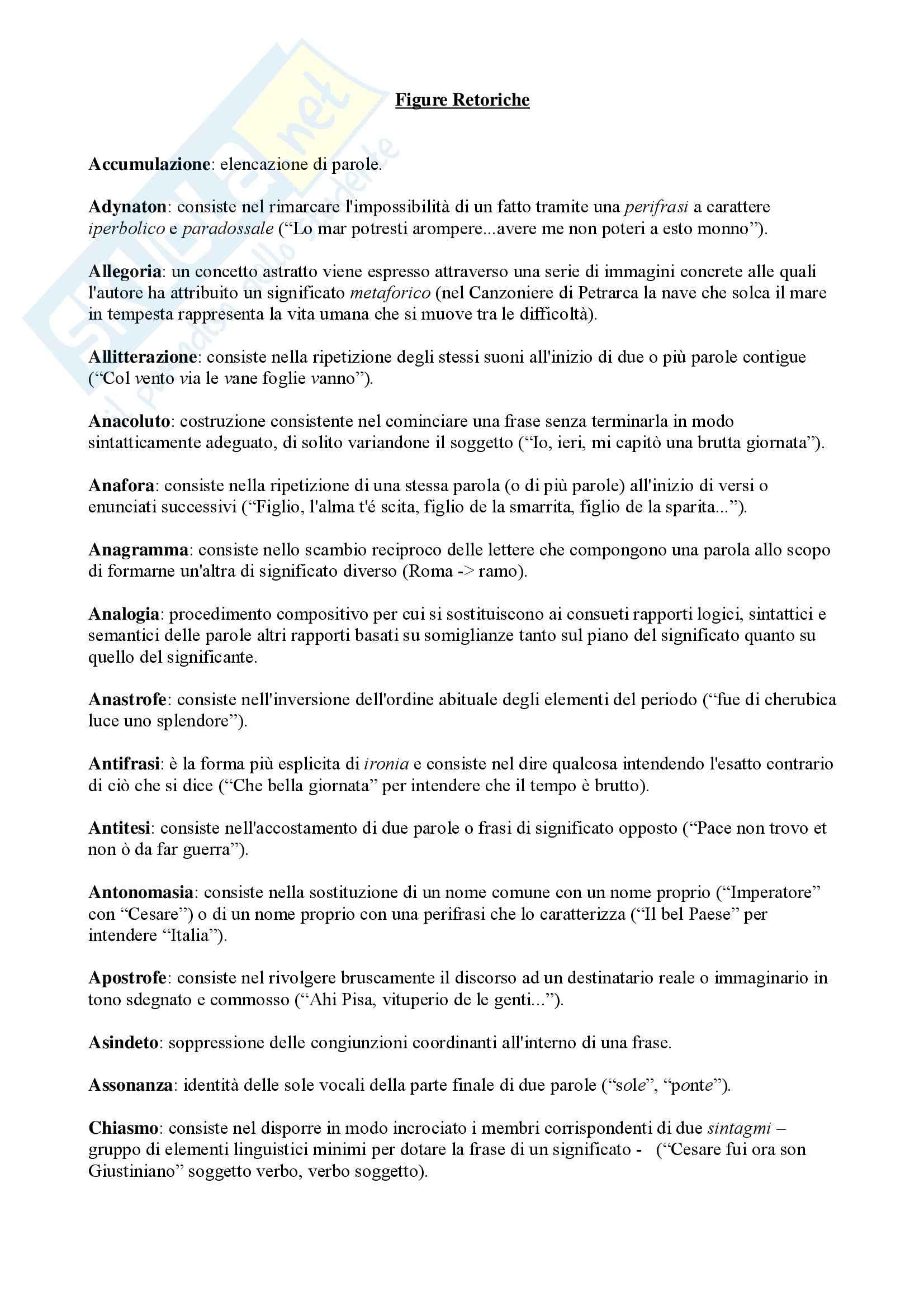 Letteratura italiana - figure retoriche - Analisi