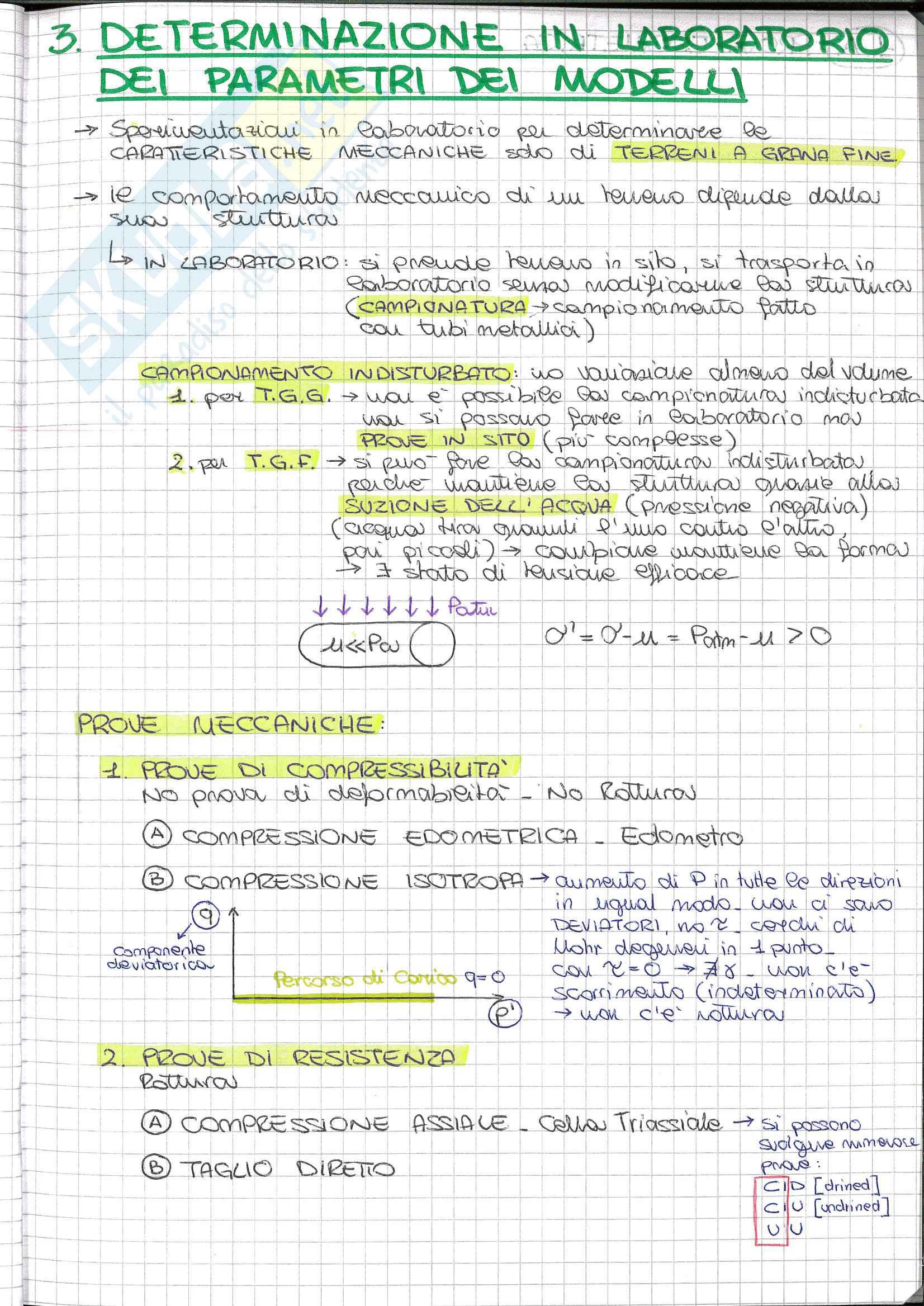 Riassunto esame Fondamenti di geotecnica, prof. Desideri, libro consigliato Lezioni di meccanica delle terre, Burghignoli: determinazione in laboratorio dei parametri dei modelli