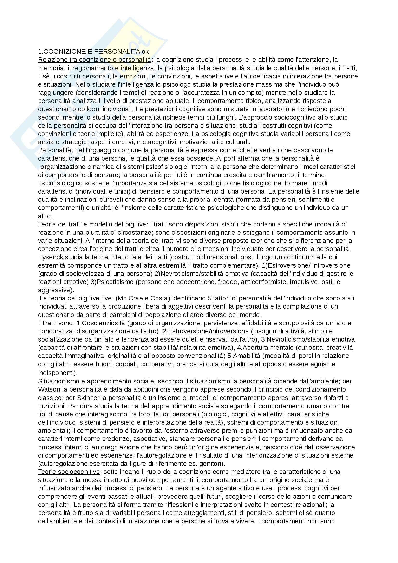 Riassunto esame Psicologia, prof. Cavallini, libro consigliato Psicologia della personalità e delle differenze individuali, De Bene, Carretti
