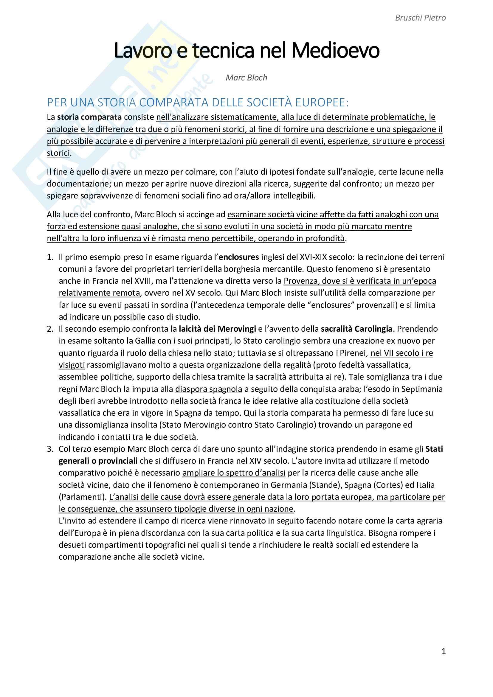 Riassunto esame Storia Medievale, prof. Zorzi, libro consigliato Lavoro e tecnica nel Medioevo, Bloch