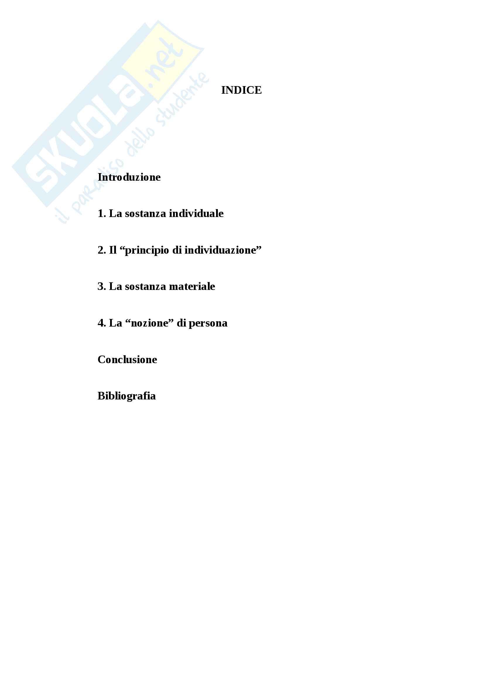 Principio di individuazione della sostanza materiale e la nozione di persona Pag. 2