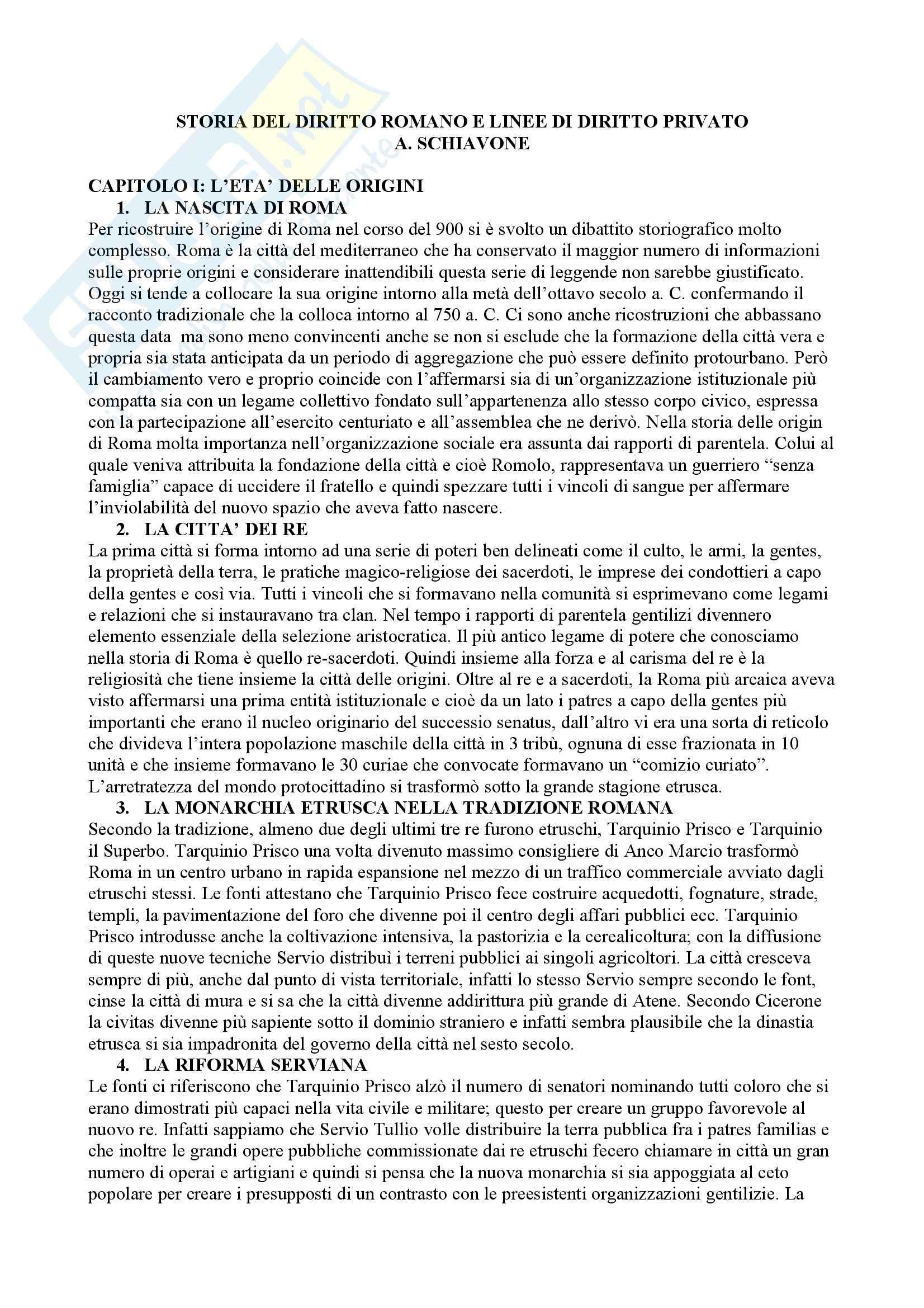 Storia del diritto romano e linee di diritto privato, Schiavone - Appunti