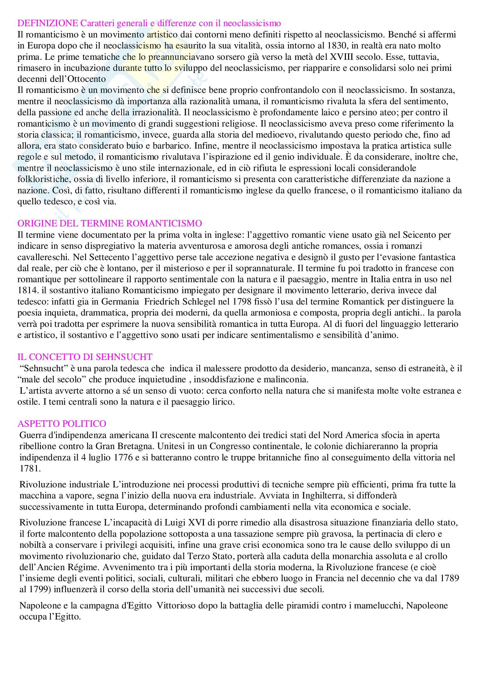 Romanticismo - Appunti
