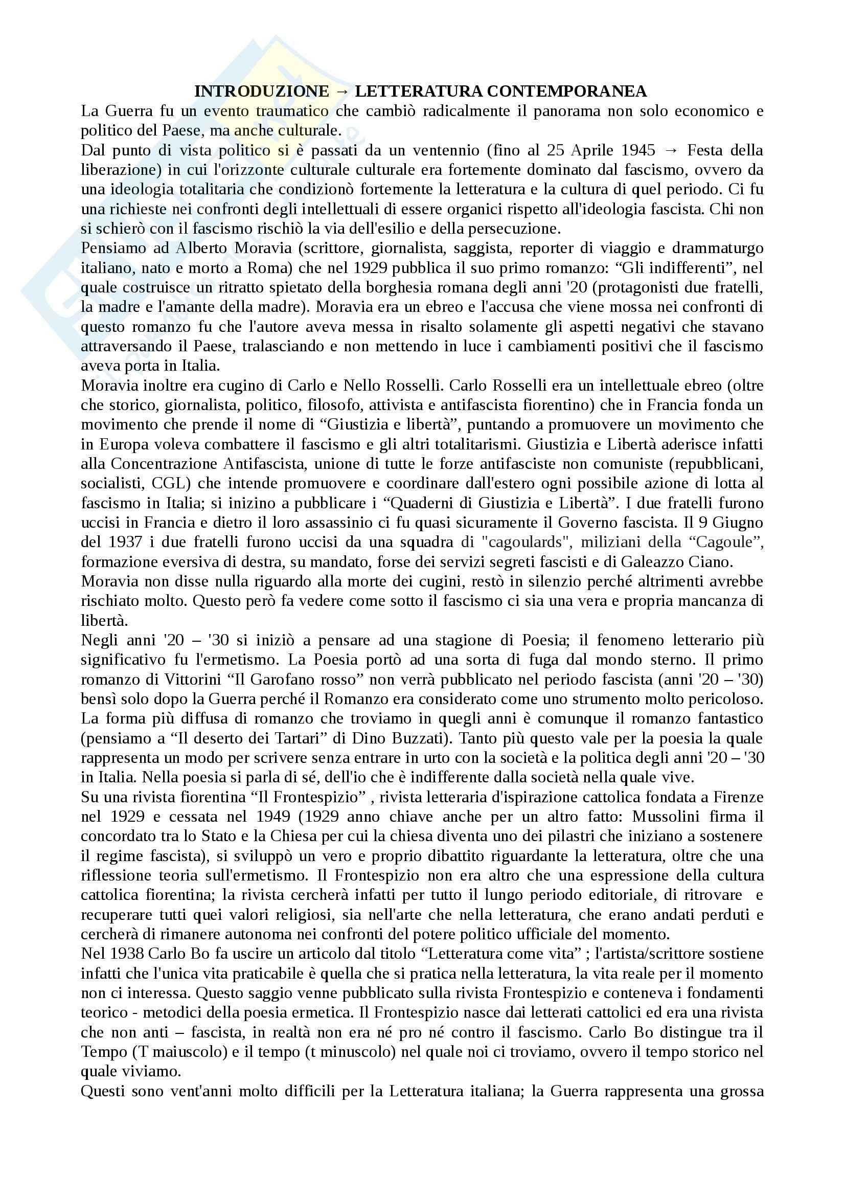 Letteratura contemporanea - Pasolini/Sereni/Fortini