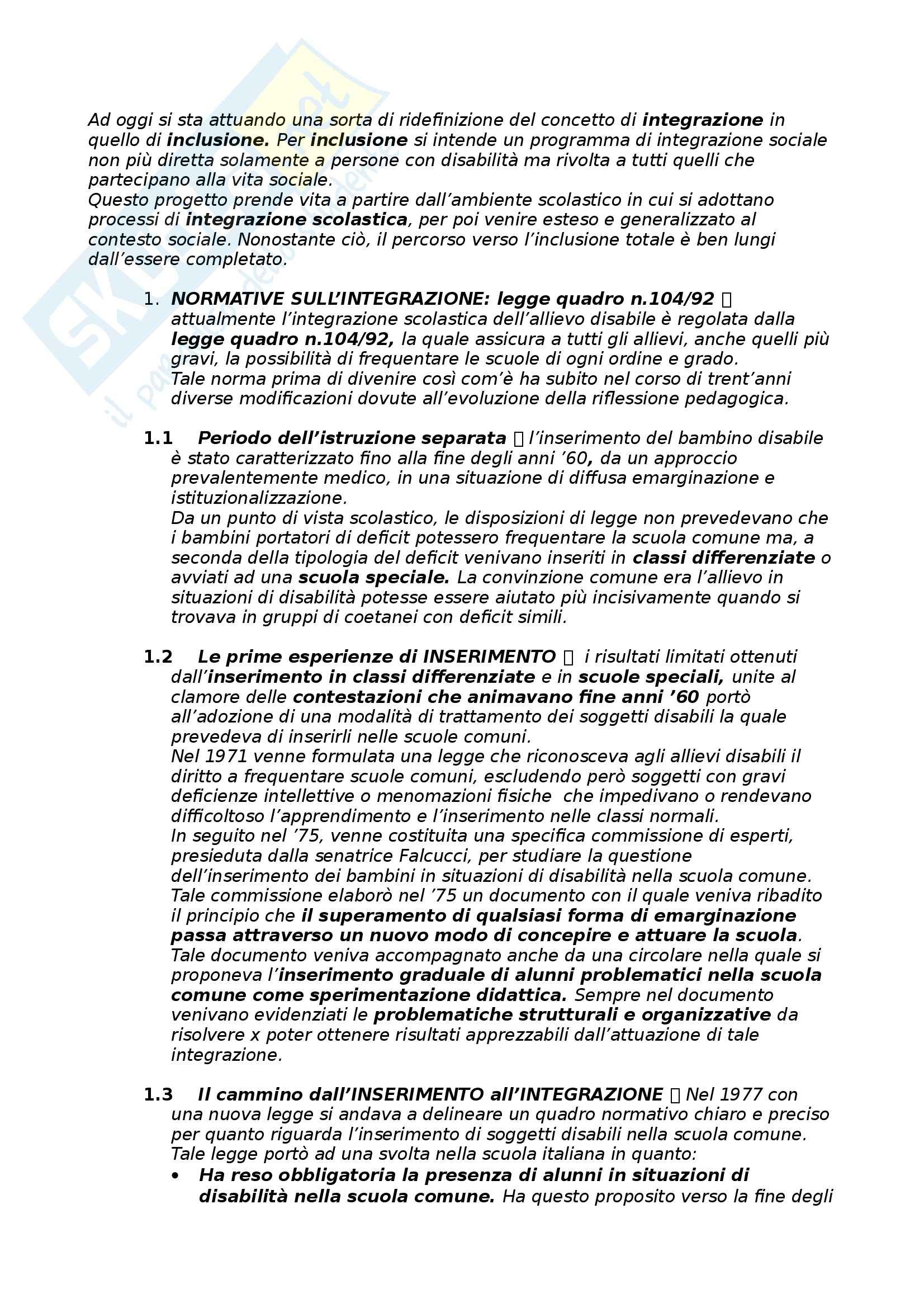 Riassunto esame Didattica e Pedagogia Speciale, prof. Cottini