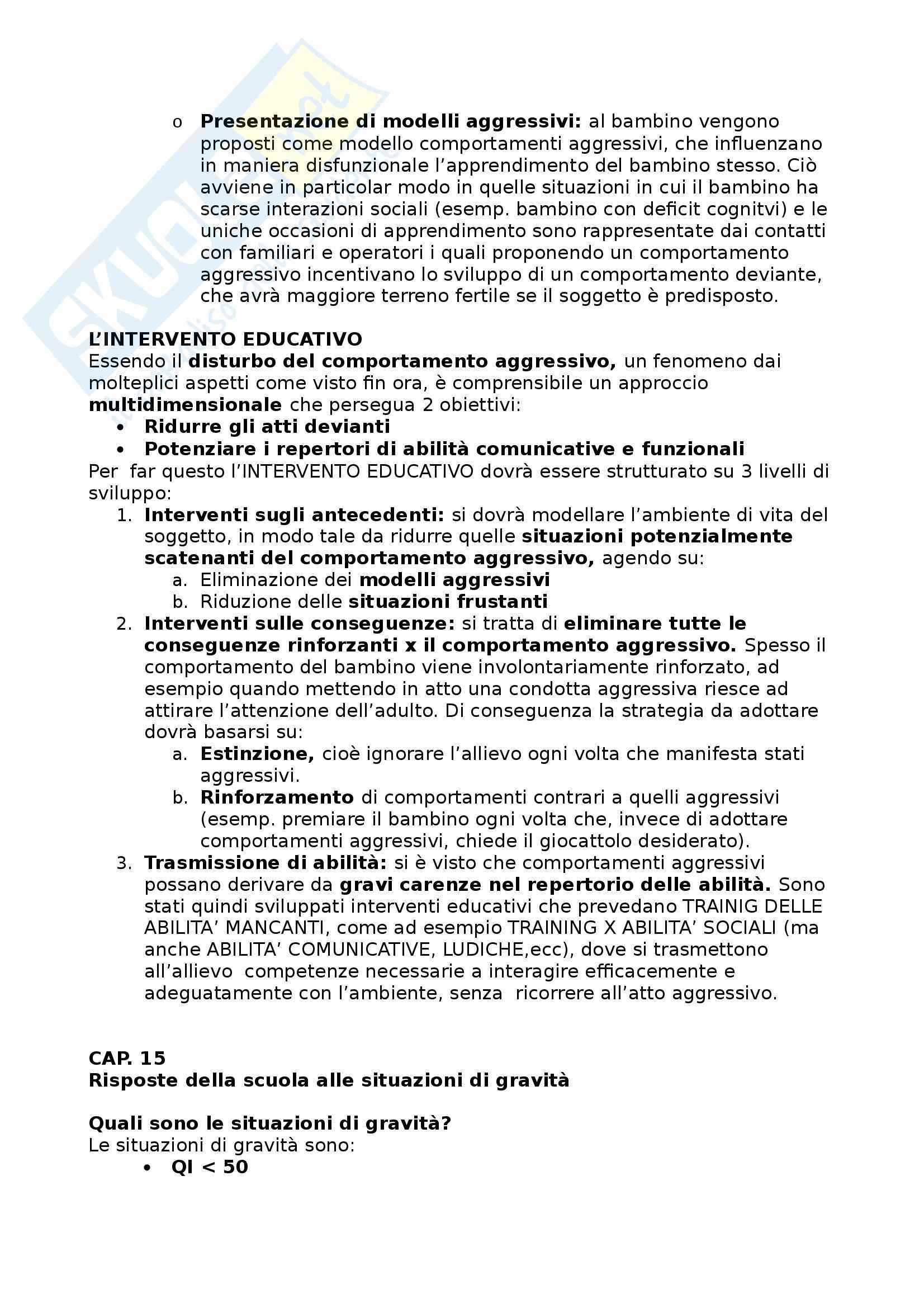 Riassunto esame Didattica e Pedagogia Speciale, prof. Cottini Pag. 21